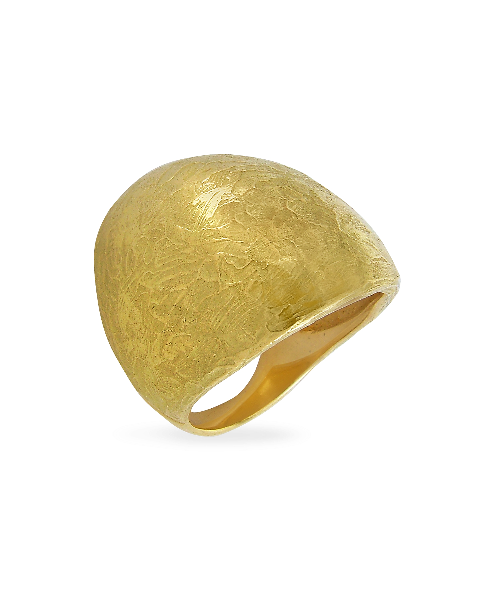 Torrini Rings, Elena - Flamed 18K Yellow Gold Shield Ring