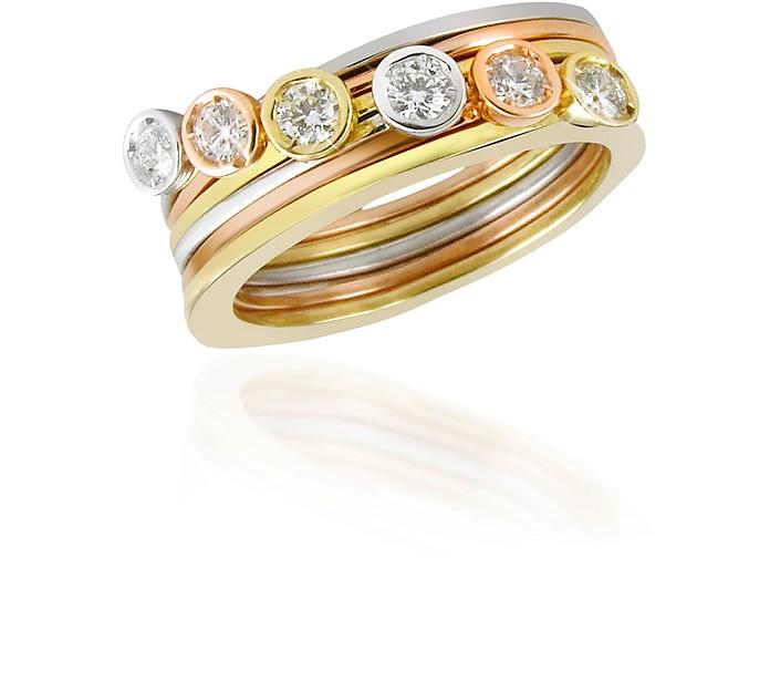 Bezel-set Diamond Three-tone 18K Gold Stackable Ring - Set of Six - Torrini