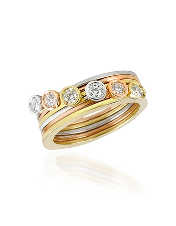 Torrini - Bezel-set Diamond Three-tone 18K Gold Stackable Ring - Set of Six