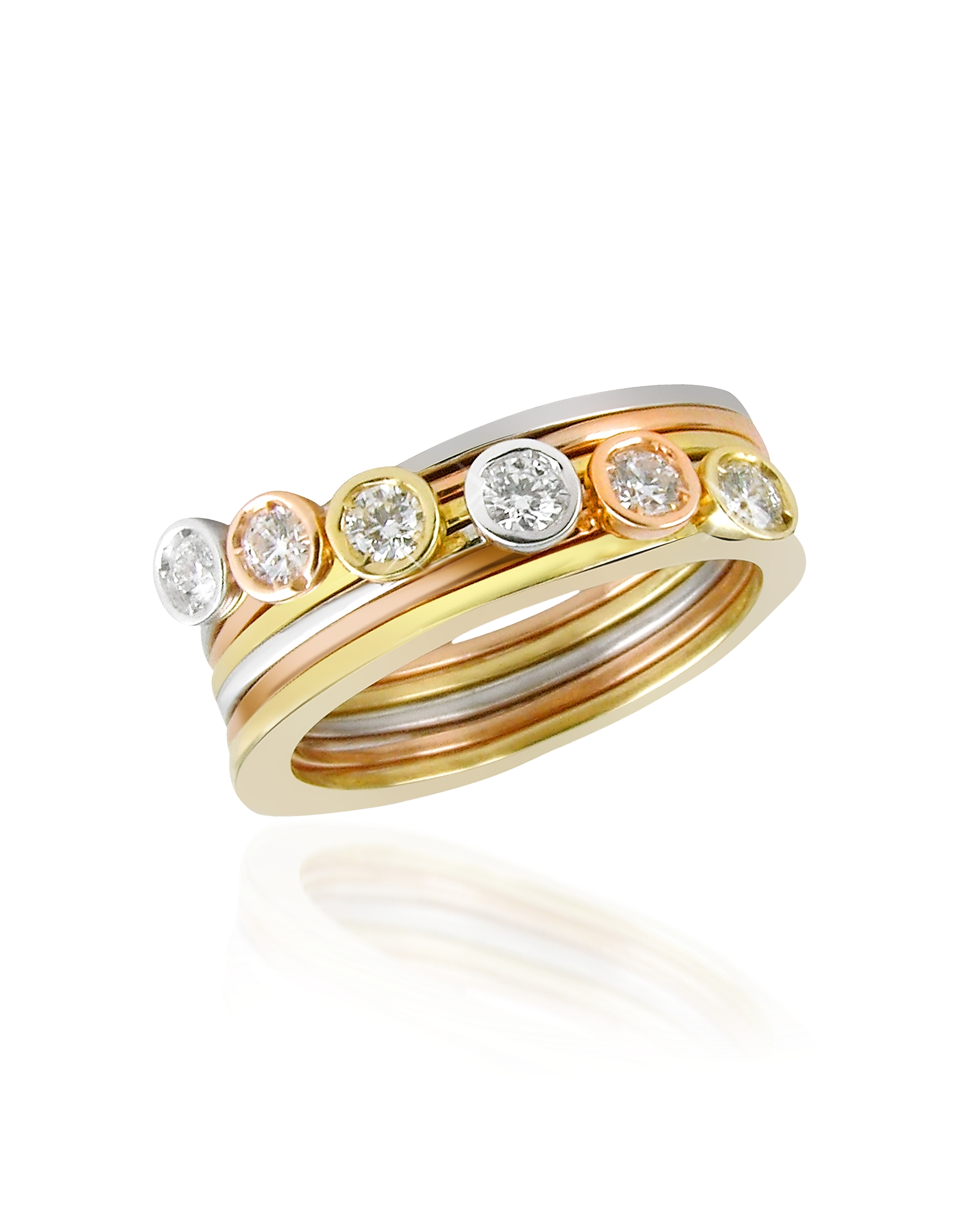 Torrini Rings, Bezel-set Diamond Three-tone 18K Gold Stackable Ring - Set of Six