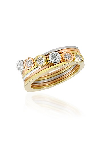 Torrini Bezel-set Diamond Three-tone 18K Gold Stackable Ring - Set of Six :  diamonds gold accessories jewellry