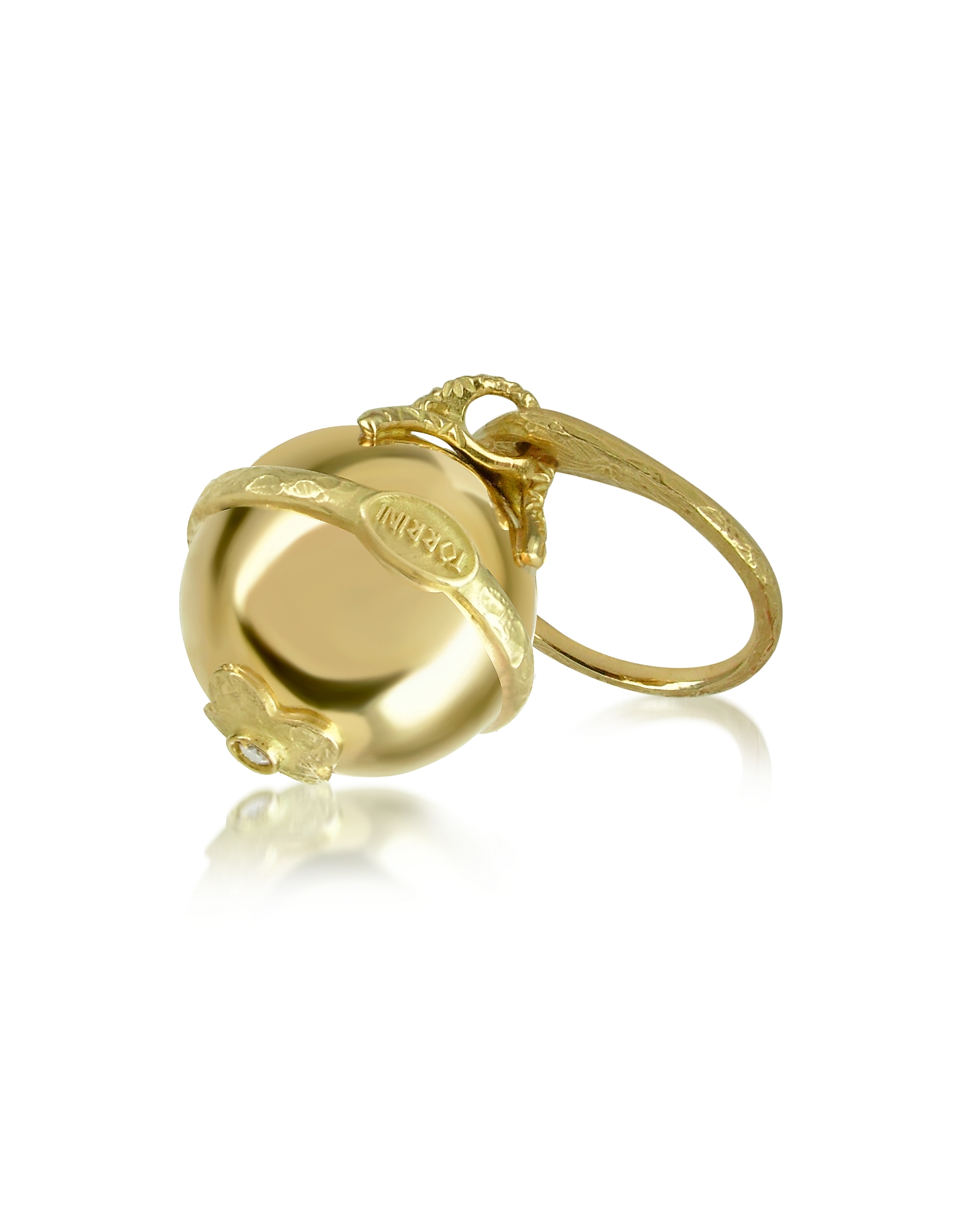 Torrini Rings, Ball - 18K Yellow Gold Diamond Charm Ring
