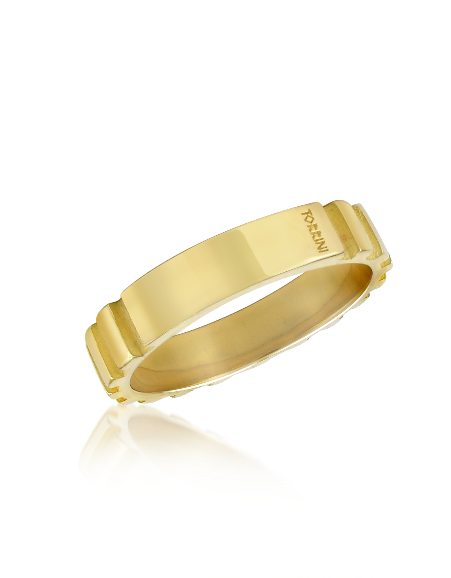 Torrini Men's Rings, Stripes - 18k Yellow Gold Band Ring