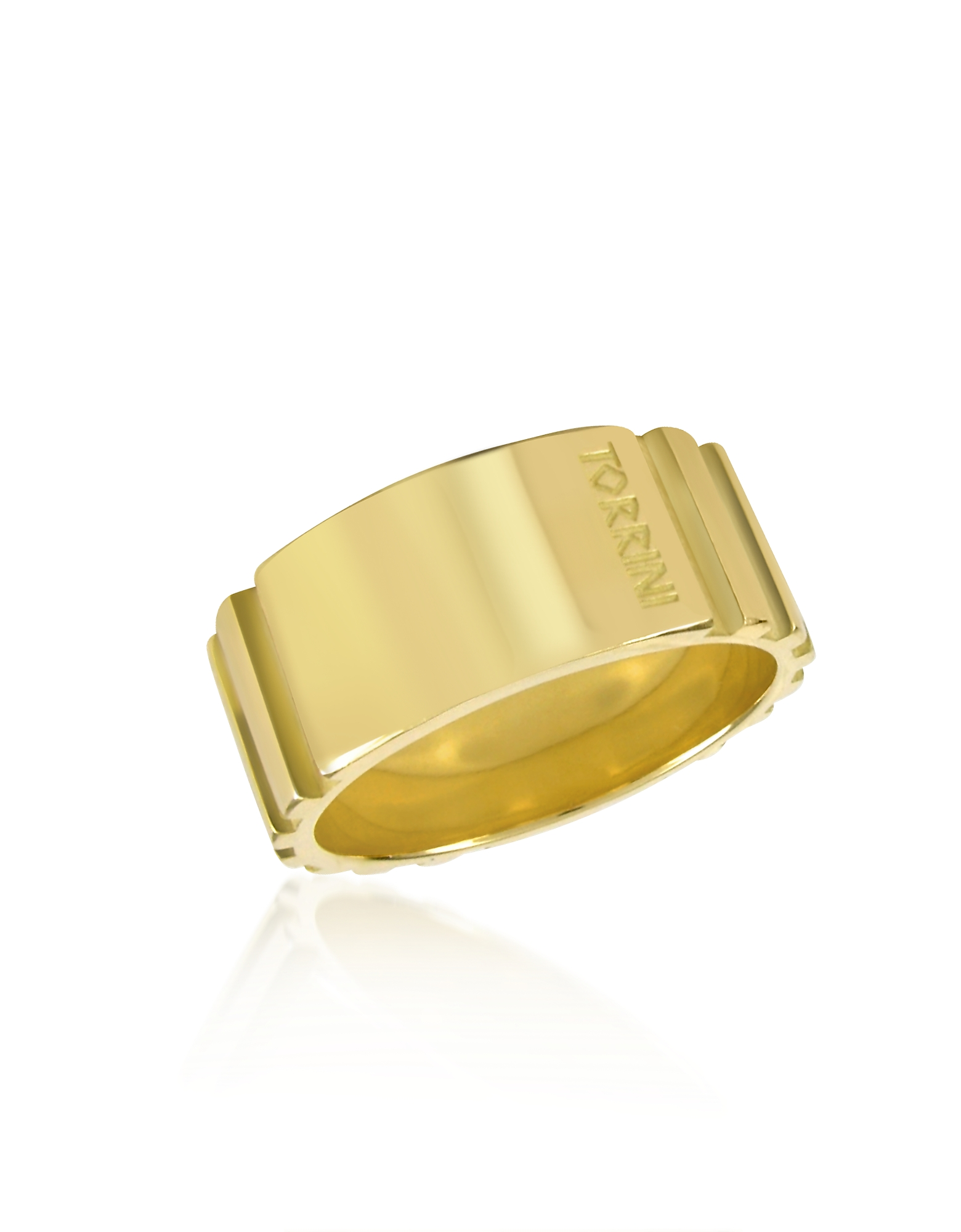 Torrini Designer Men's Rings, Stripes - 18k Yellow Gold Tall Band Ring