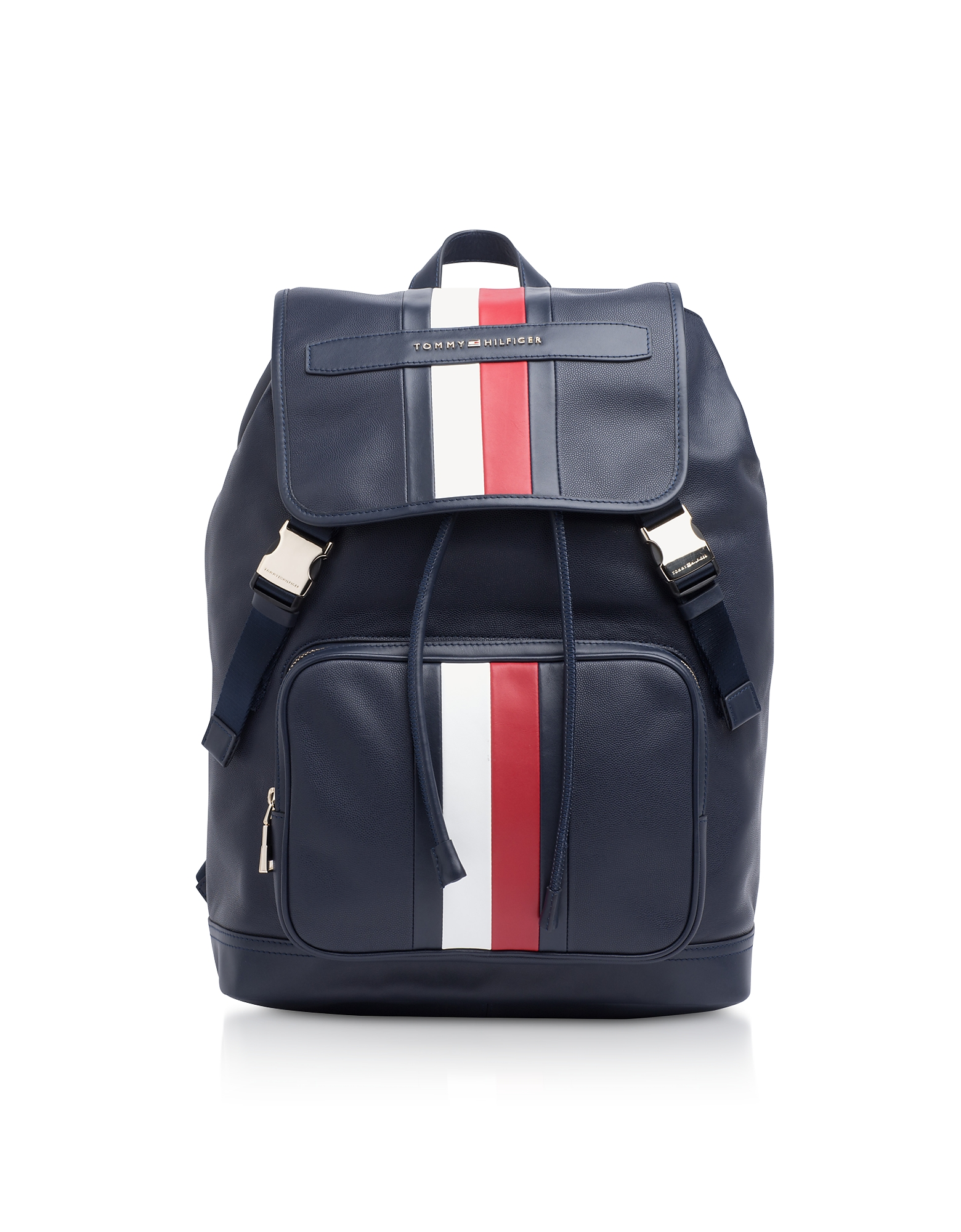 Tommy - Синий Кожаный Рюкзак с Полосками