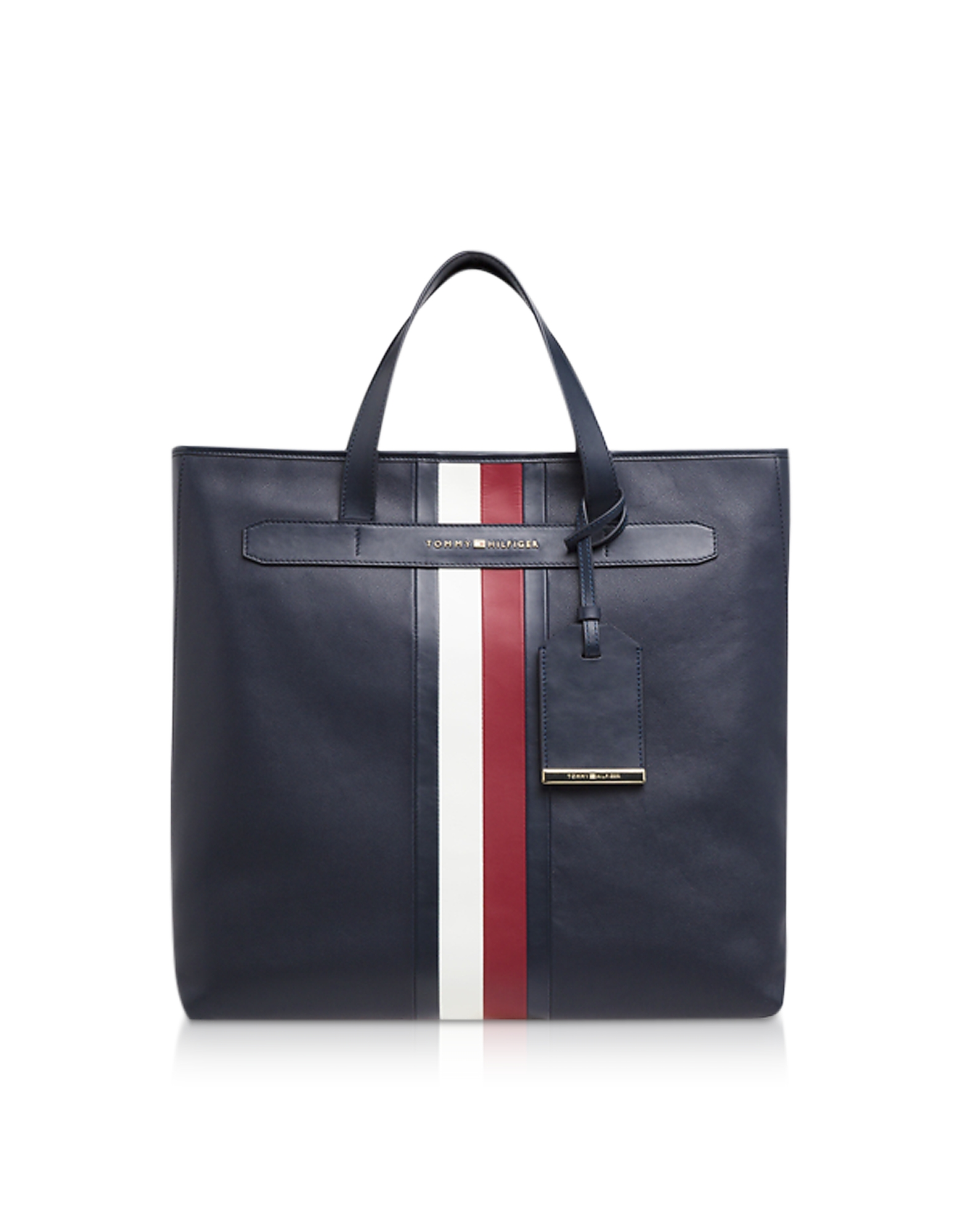 Tommy Navy Elevated Leather Men's Tote Bag