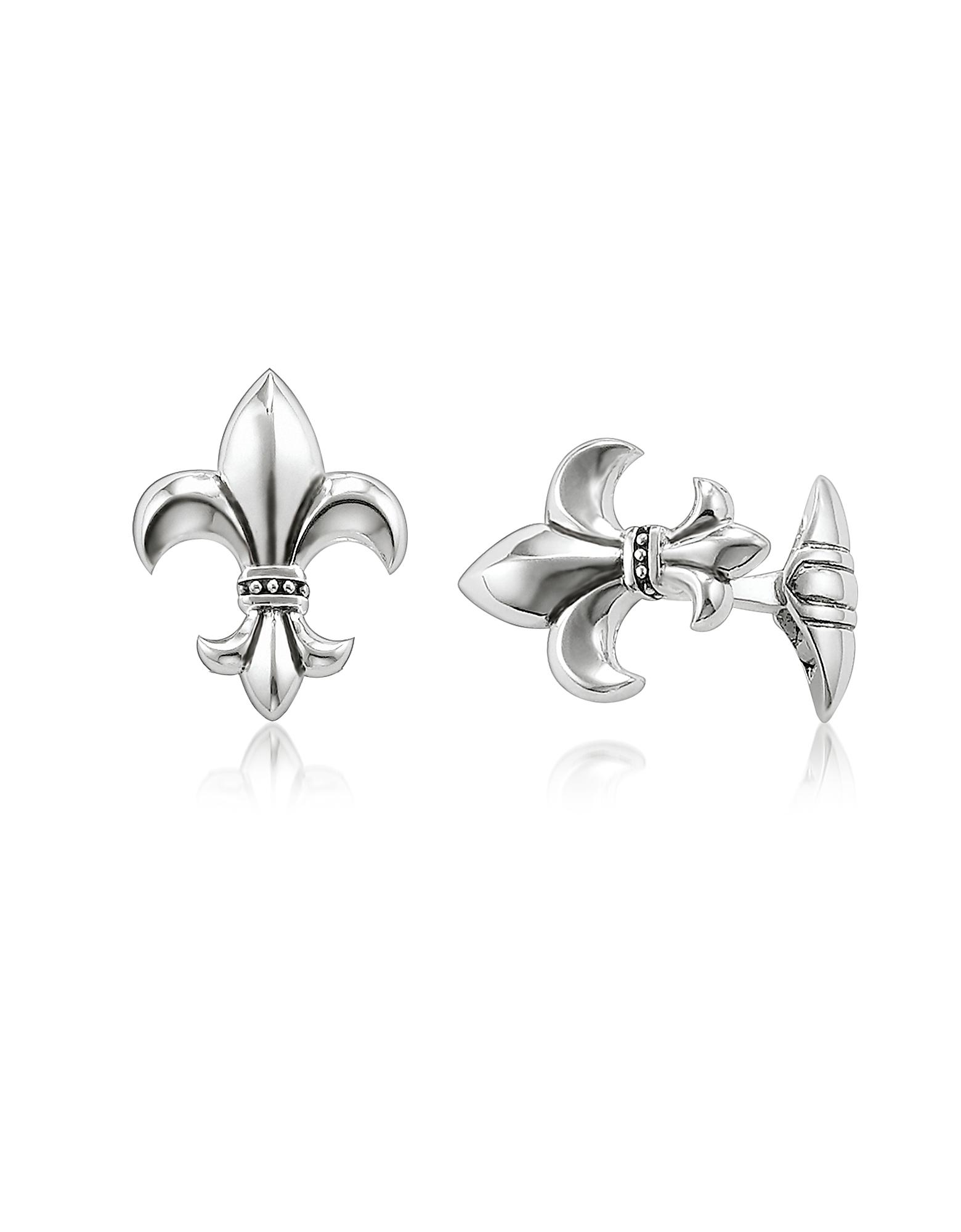 Blackened Sterling silver Fleur-de-lis Cufflinks
