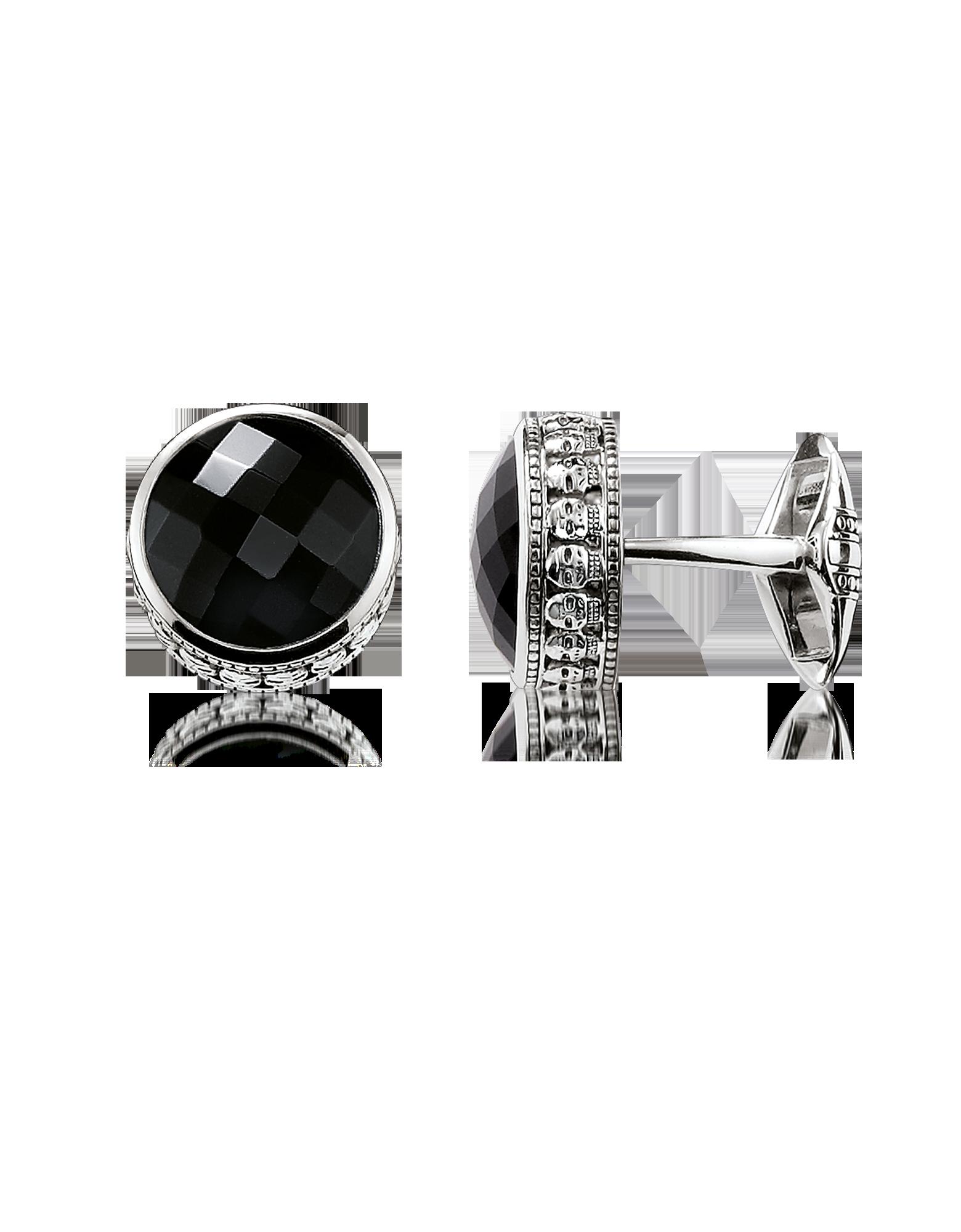 Image of Blackened 925 Sterling silver Skull Cufflinks w/Onyx