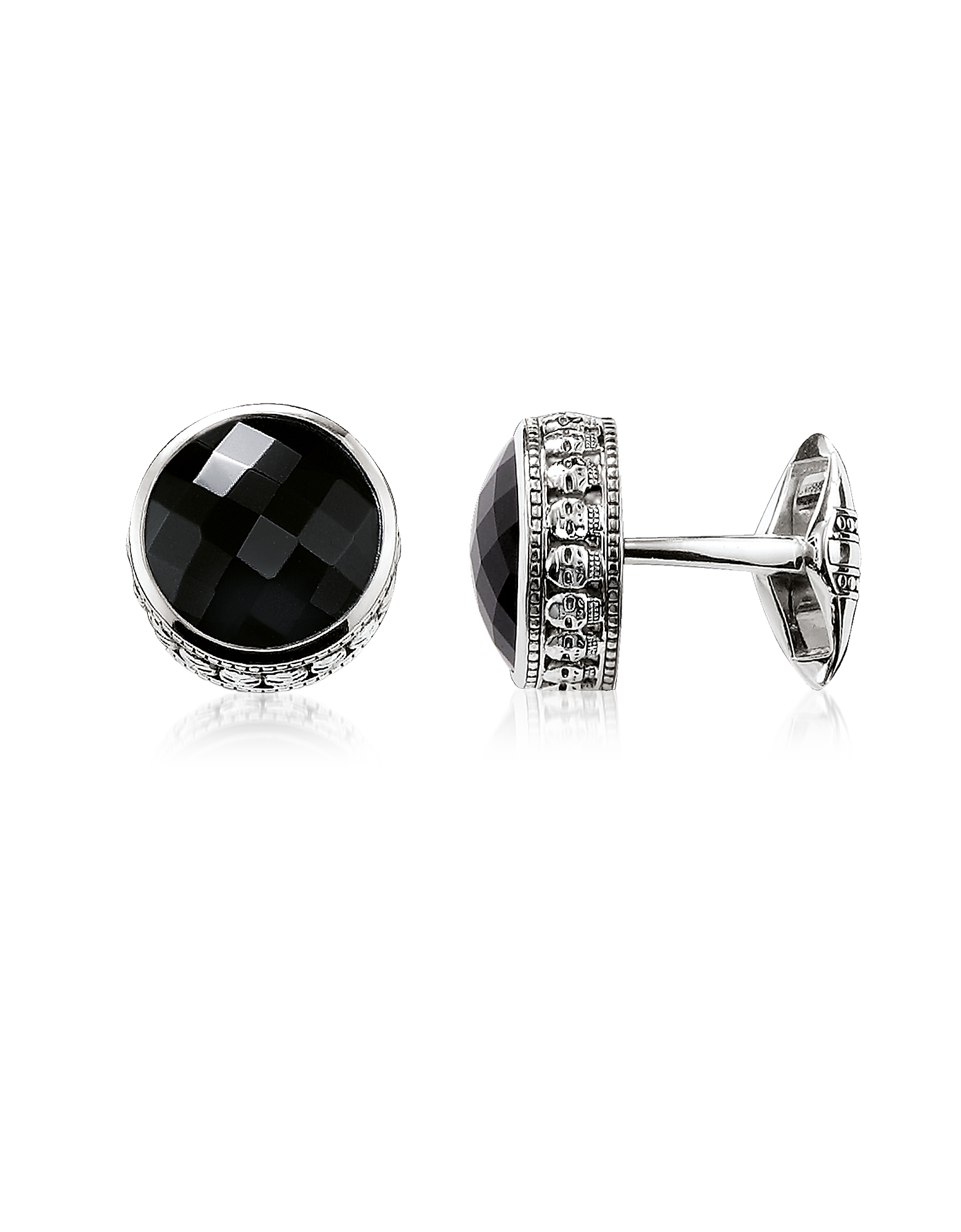 Thomas Sabo Cufflinks, Blackened 925 Sterling silver Skull Cufflinks w/Onyx