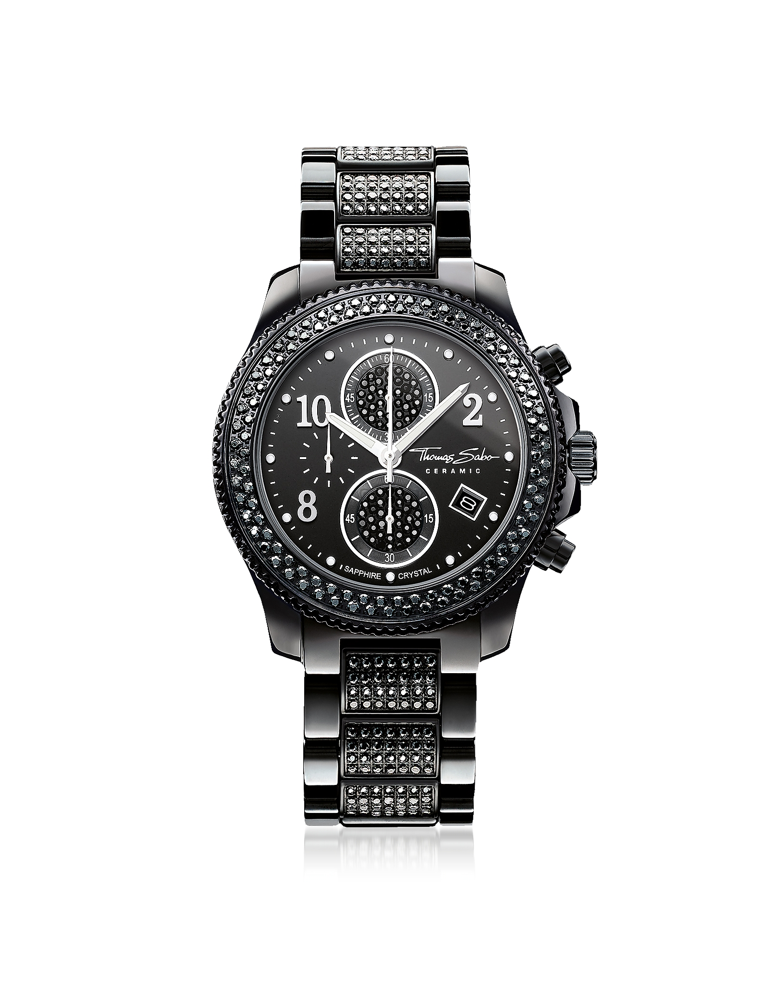 Glam Ceramic Women's Chronograph Watch w/Crystals