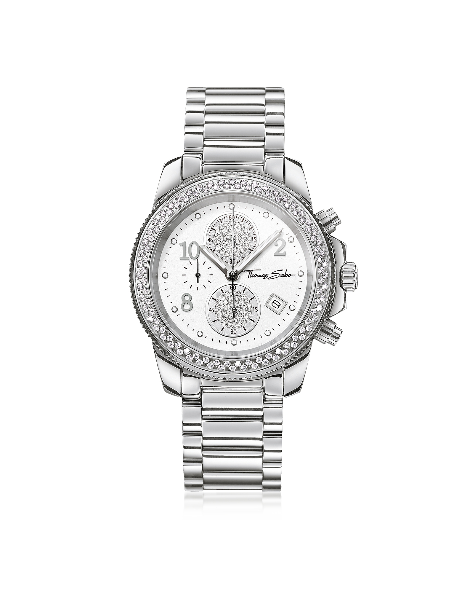 Glam Chrono Silver Stainless Steel Women's Watch w/Crystals