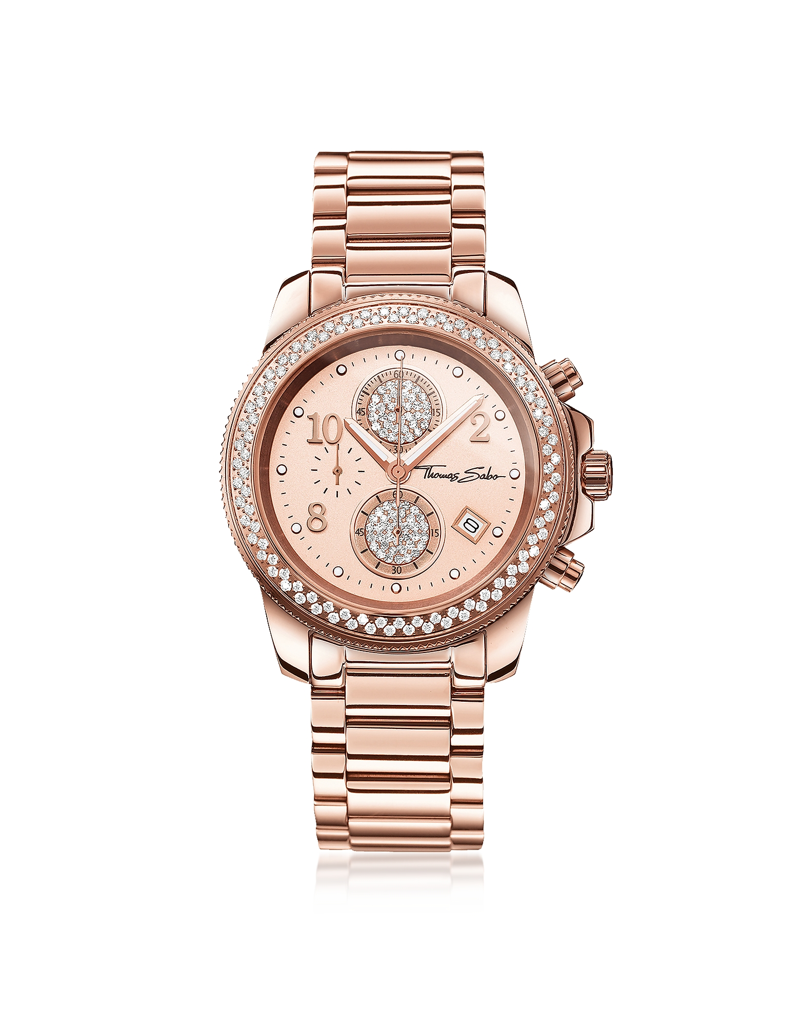 Glam Chrono Rose Gold Stainless Steel Women's Watch w/Crystals