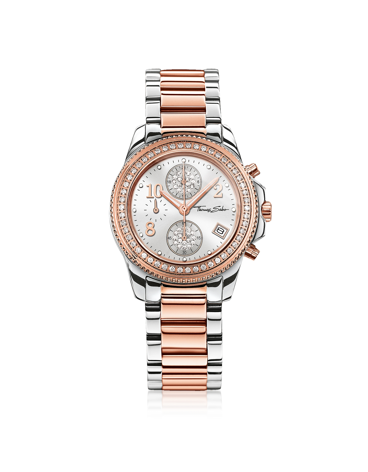Glam Chrono Silver and Rose Gold Stainless Steel Women's Watch w/Crystals