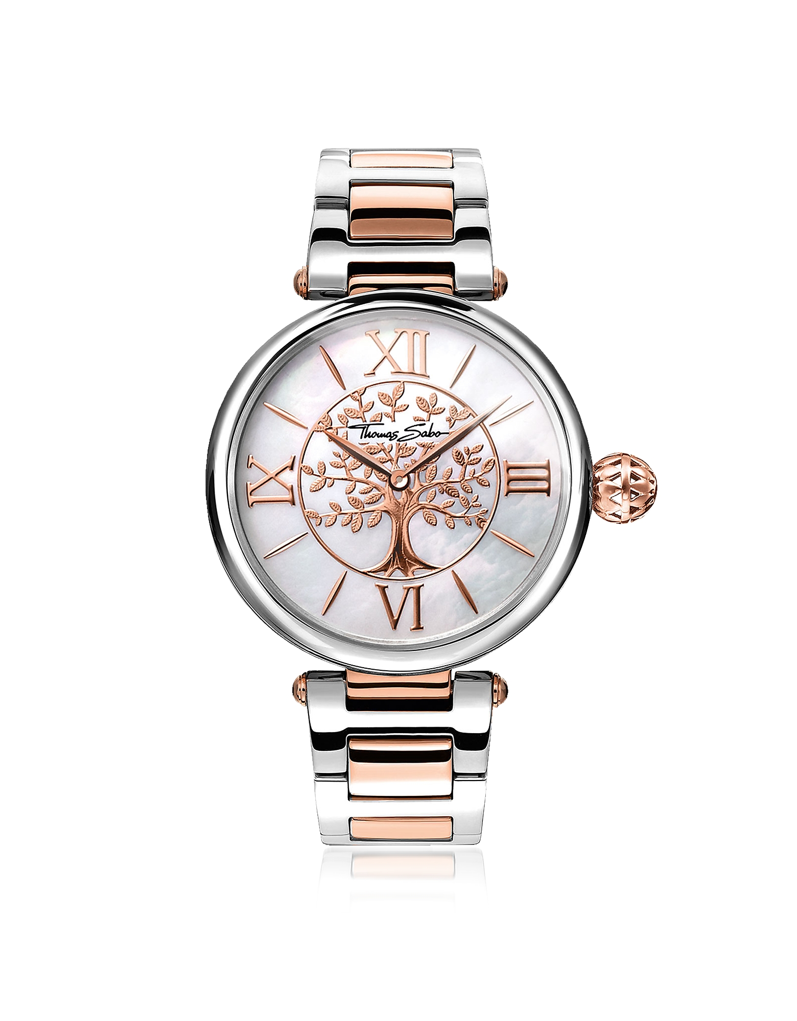 Karma Silver and Rose Gold Stainless Steel Women's Watch