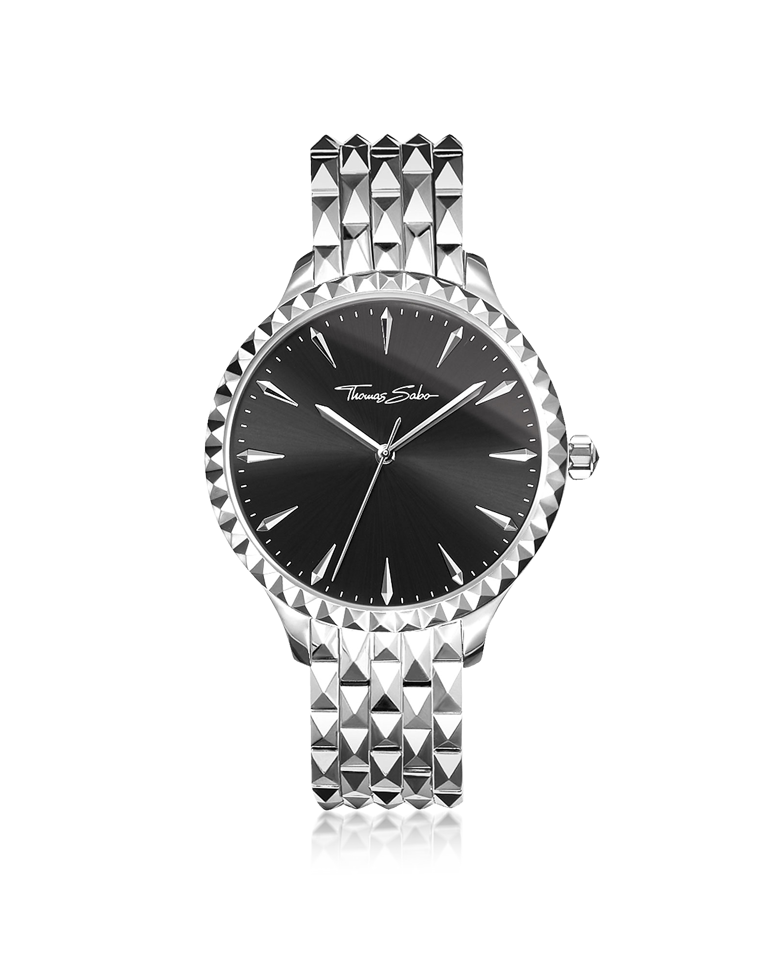 Rebel at Heart Silver Stainless Steel Women's Watch w/Black Dial