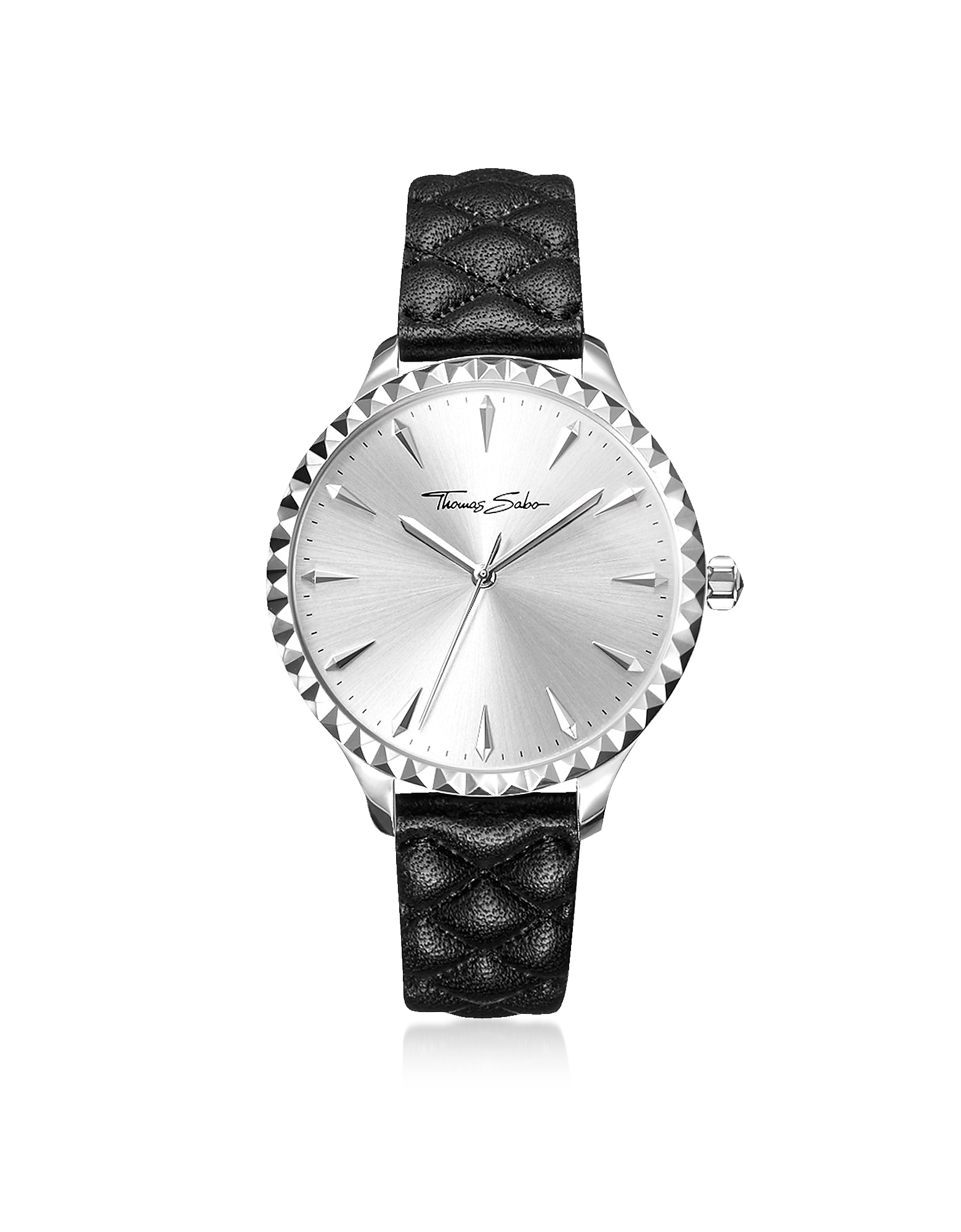 Rebel at Heart Silver Stainless Steel Women's Watch w/Black Quilted Leather Strap