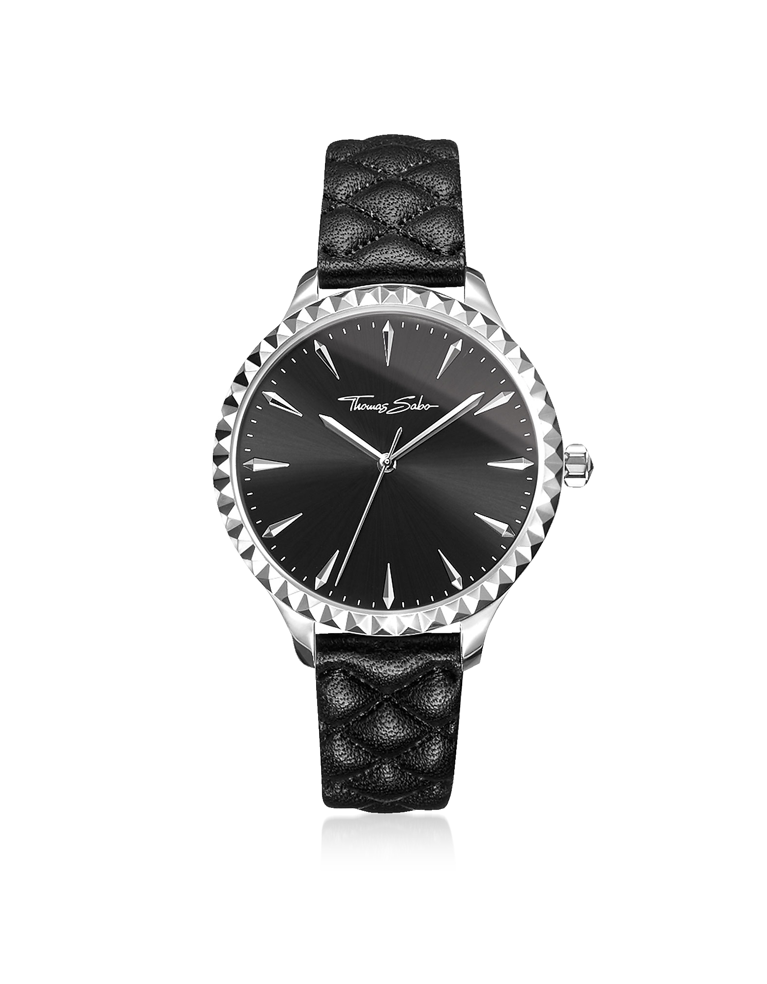 Rebel at Heart Silver Stainless Steel and Black Quilted Leather Strap Women's Watch w/Black Dial