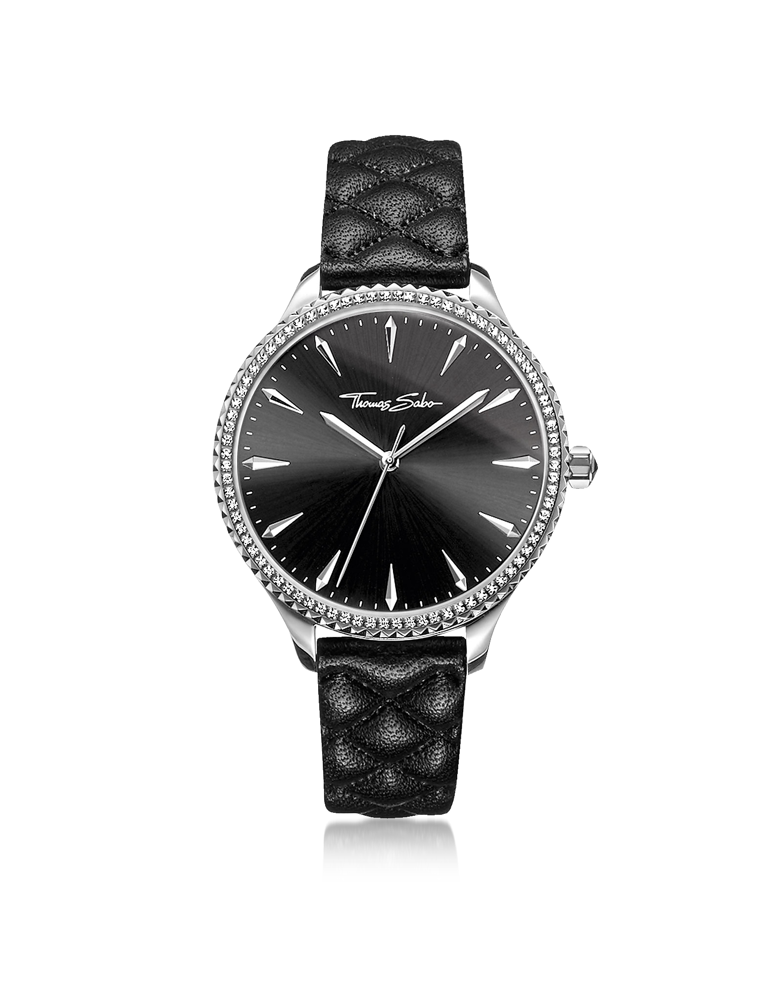 Rebel at Heart Silver Stainless Steel and Black Quilted Leather Strap Women's Watch w/Crystals