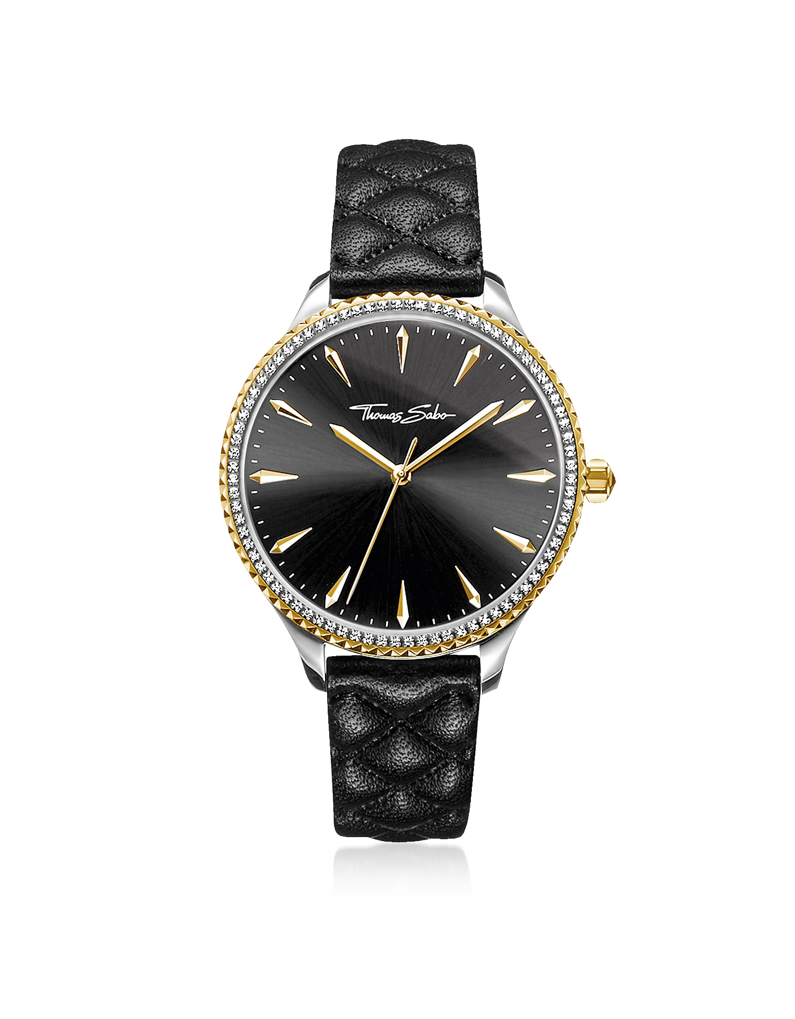 Rebel at Heart Two Tone Stainless Steel and Black Quilted Leather Strap Women's Watch w/Crystals