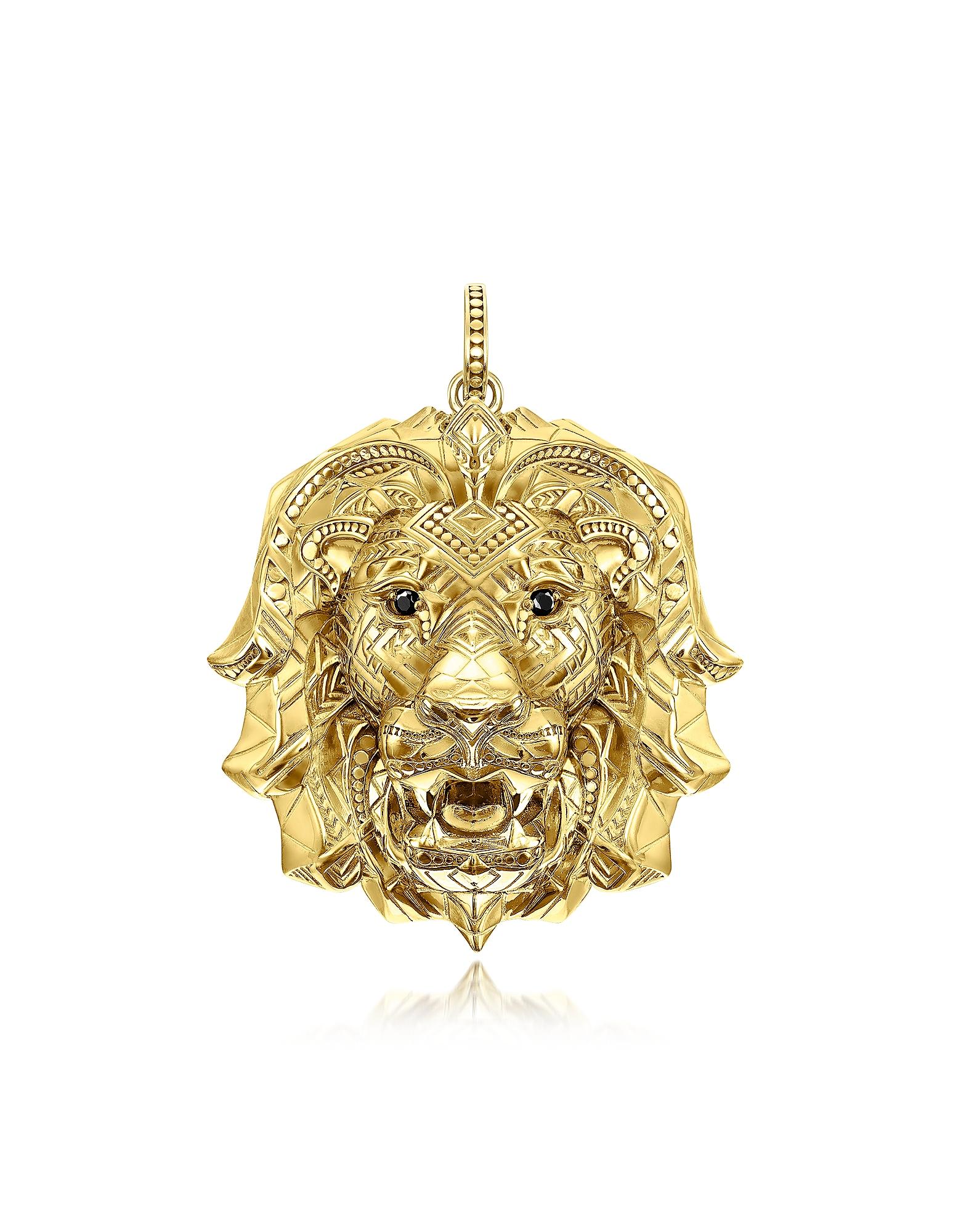 Thomas Sabo Necklaces, 925 Sterling Silver & 18k Yellow Gold Lion Pendant w/Black Zirconia