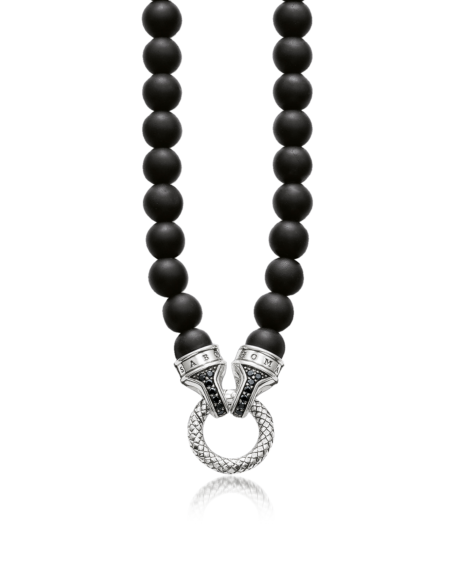 Image of Blackened Sterling Silver and Obsidian Beads Men's Necklace w/Black Zirconia
