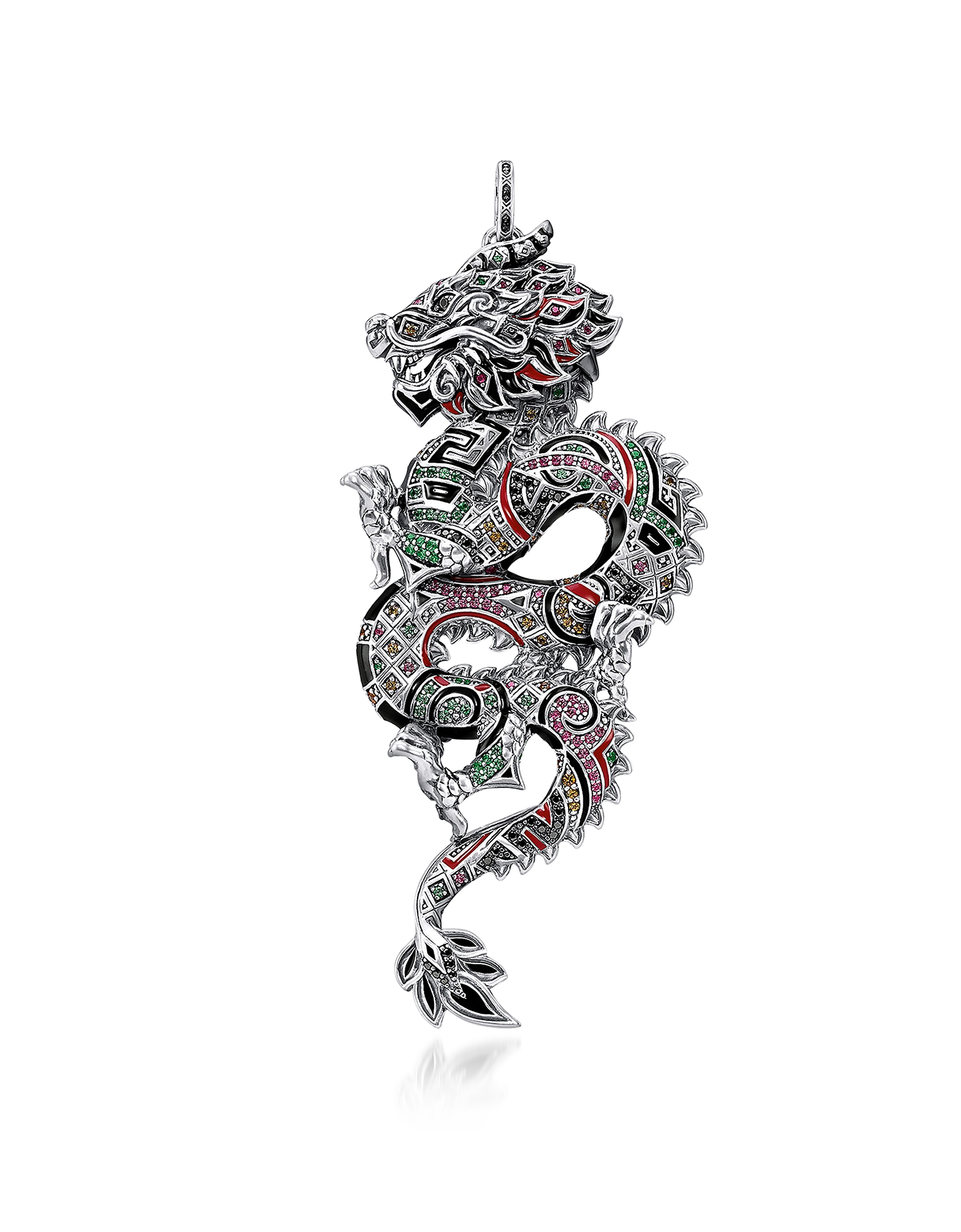 Thomas Sabo Necklaces, Blackened Sterling Silver, Enamel and Glass-ceramic Stones Medium Chinese Dra