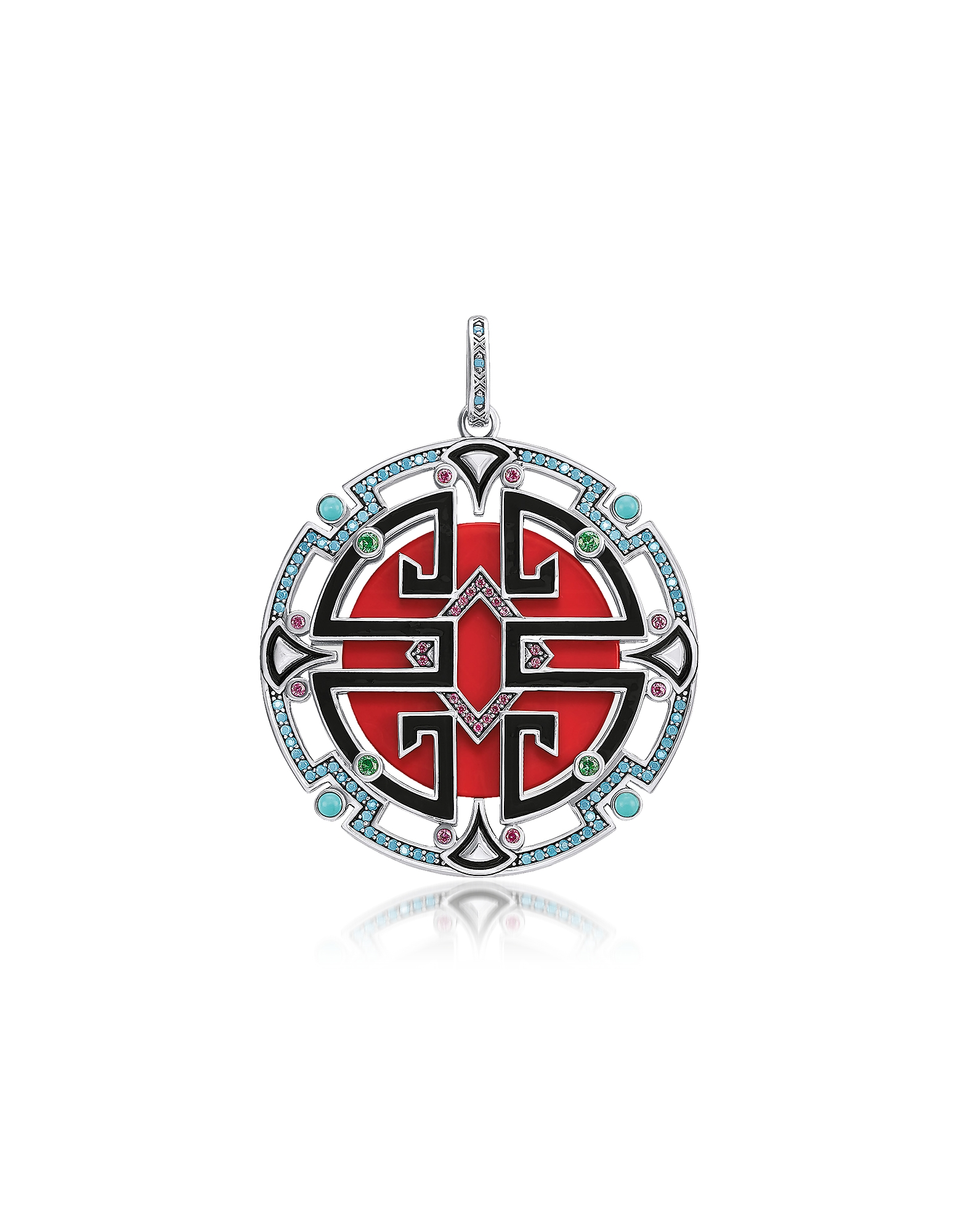 Thomas Sabo  Necklaces Blackened Sterling Silver Enamel and Glass-ceramic St..
