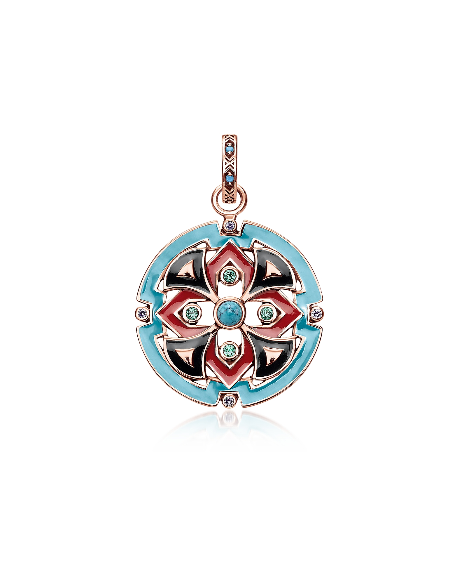 18k Rose Gold Plated Sterling Silver Round Pendant w/Glass-ceramic Stones