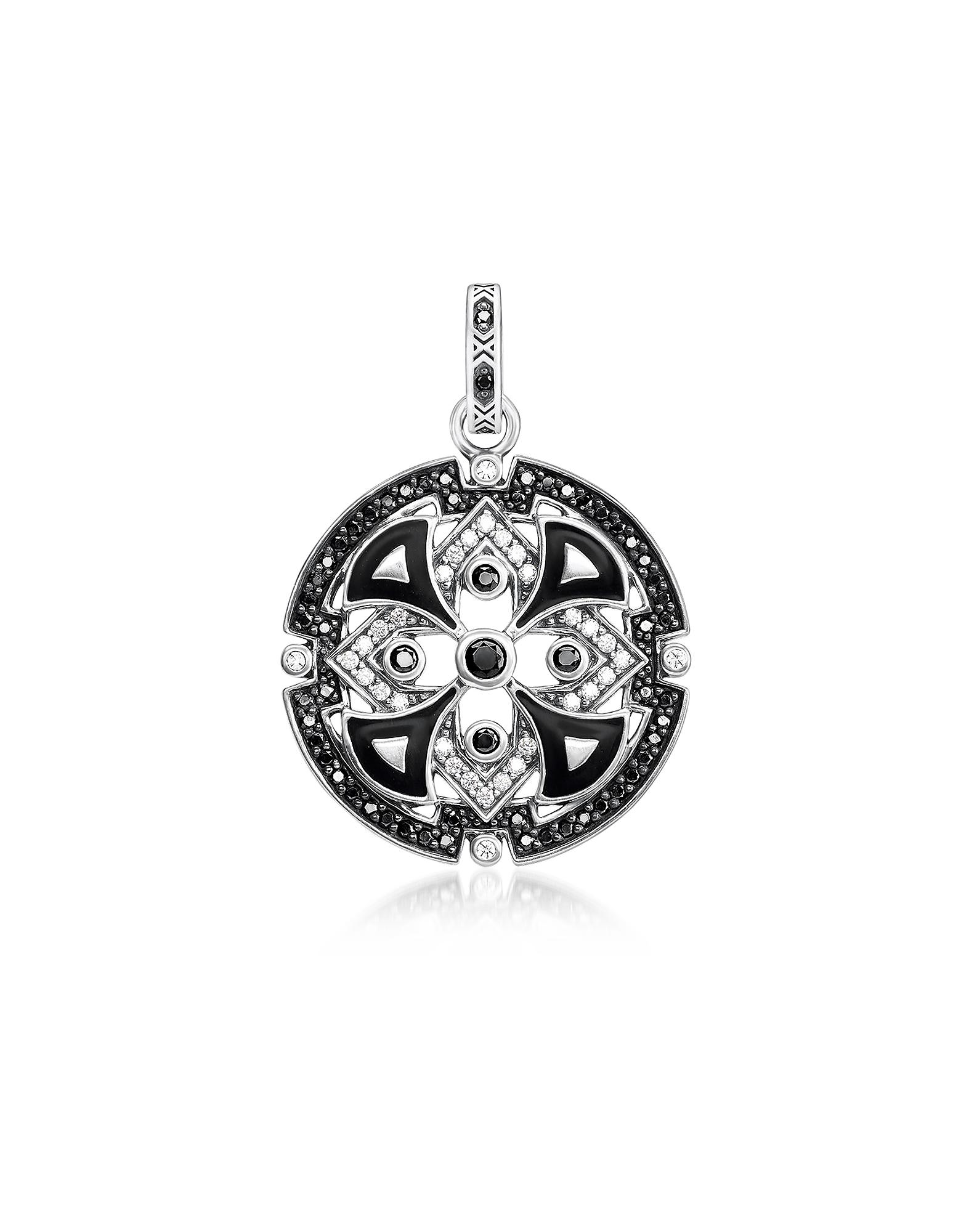 Blackened Sterling Silver w/Black & White Cubic Zirconia Pendant