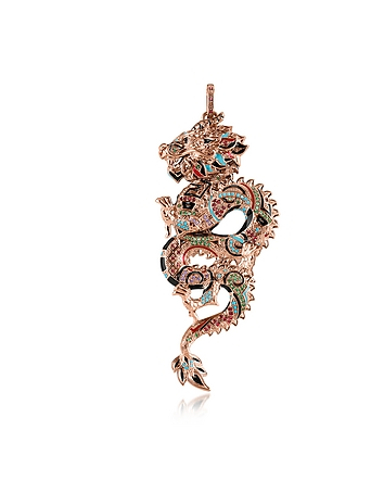 18k Rose Gold Plated Sterling Silver Dragon Pendant w/Glass-ceramic Stones