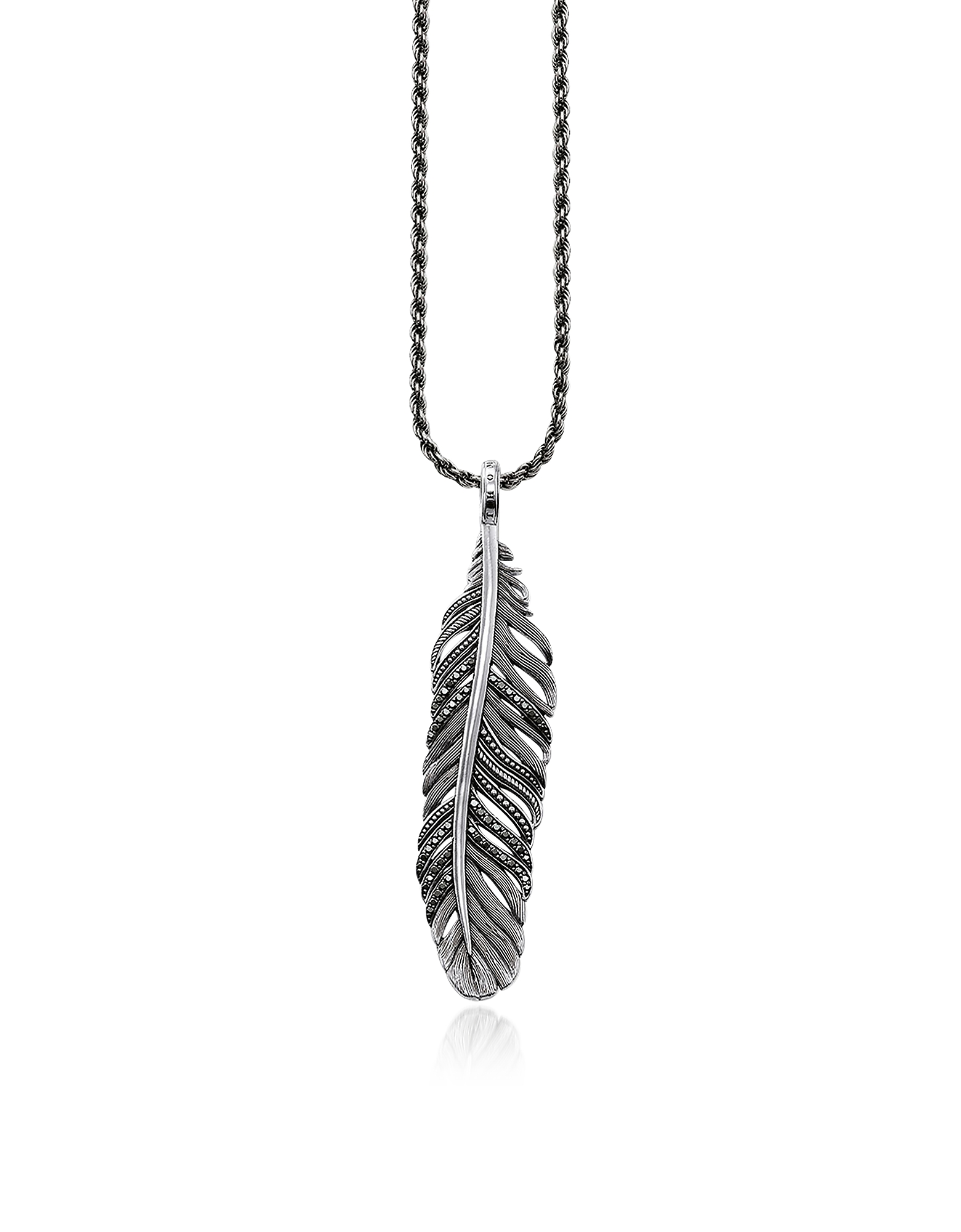 Blackened Sterling Silver Necklace w/ Feather Pendant and Black Cubic Zirconia