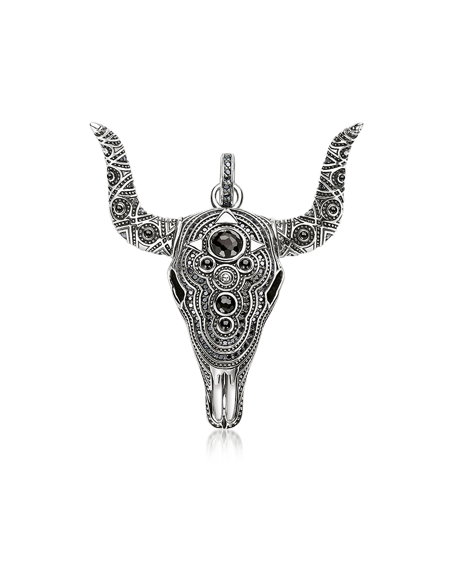 Blackened Sterling Silver Buffalo Pendant w/Black Zirconia and Onyx