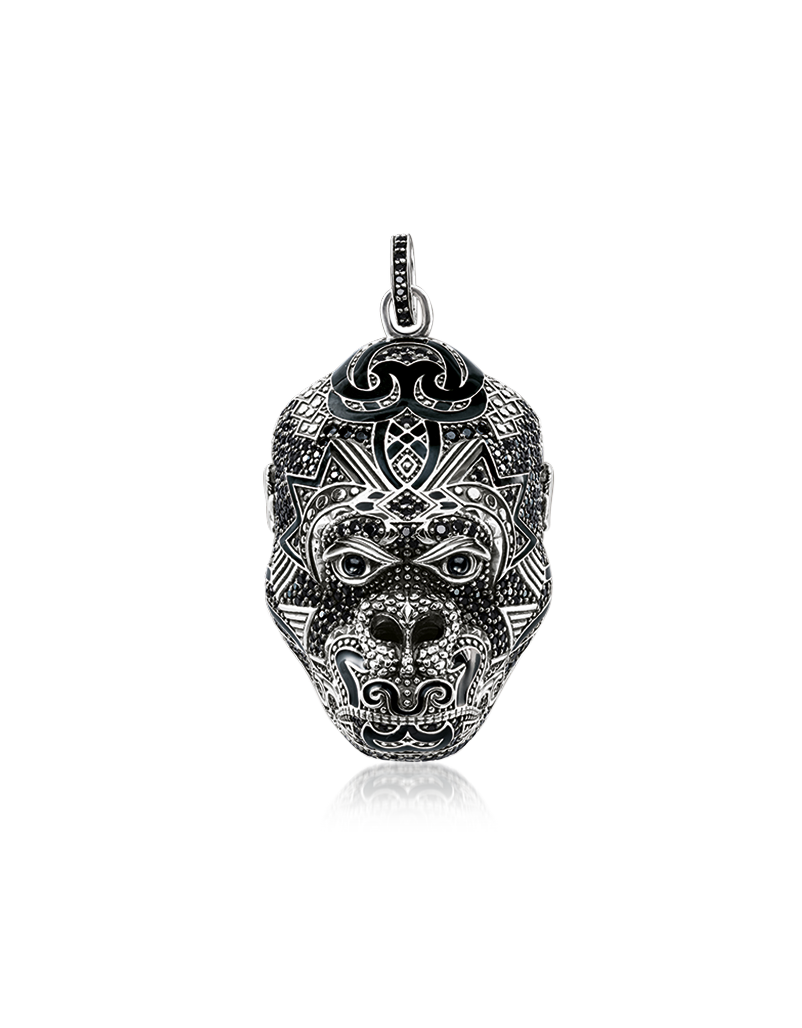 Image of Blackened Sterling Silver Monkey God Pendant w/Black Zirconia and Onyx