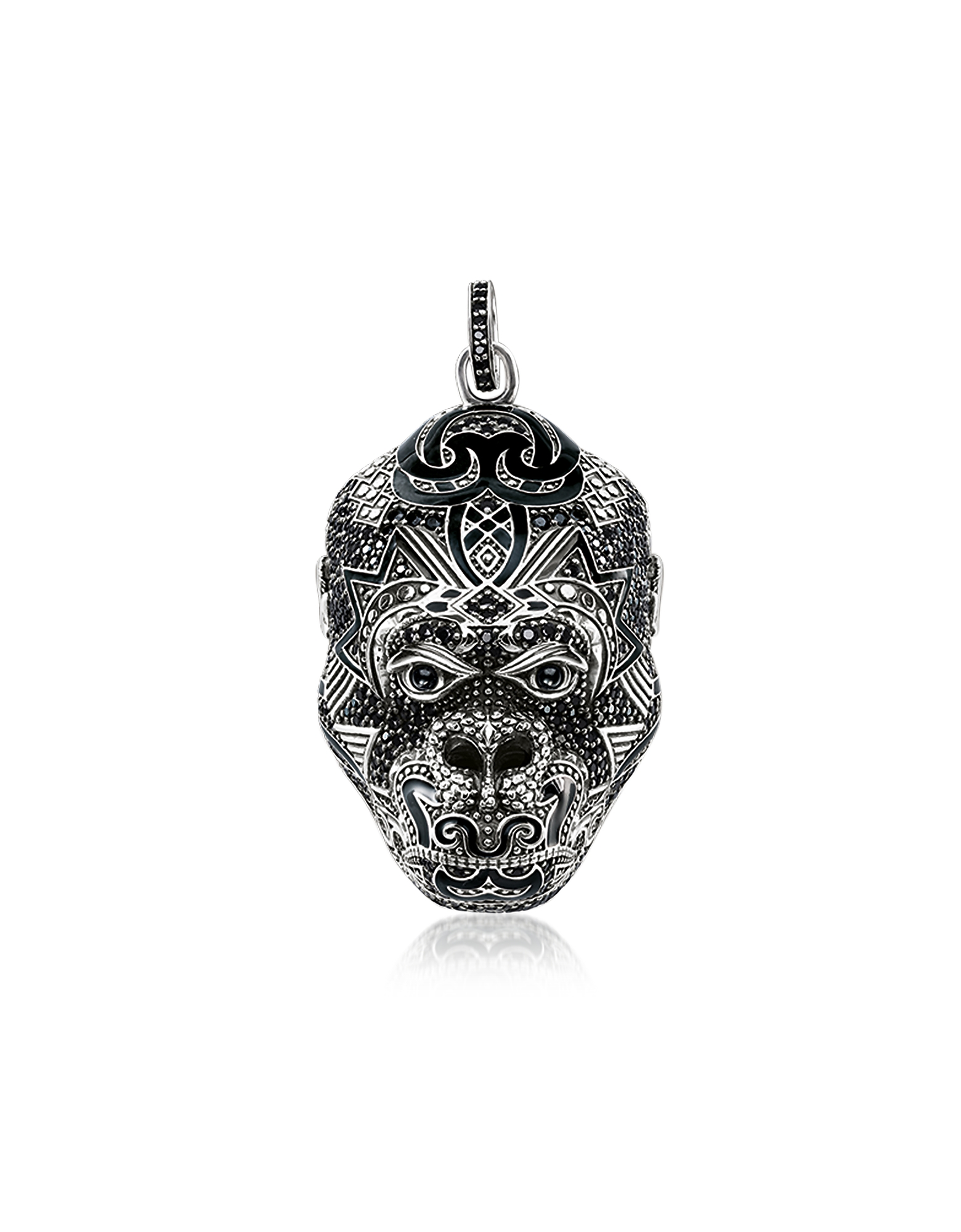 Blackened Sterling Silver Monkey God Pendant w/Black Zirconia and Onyx