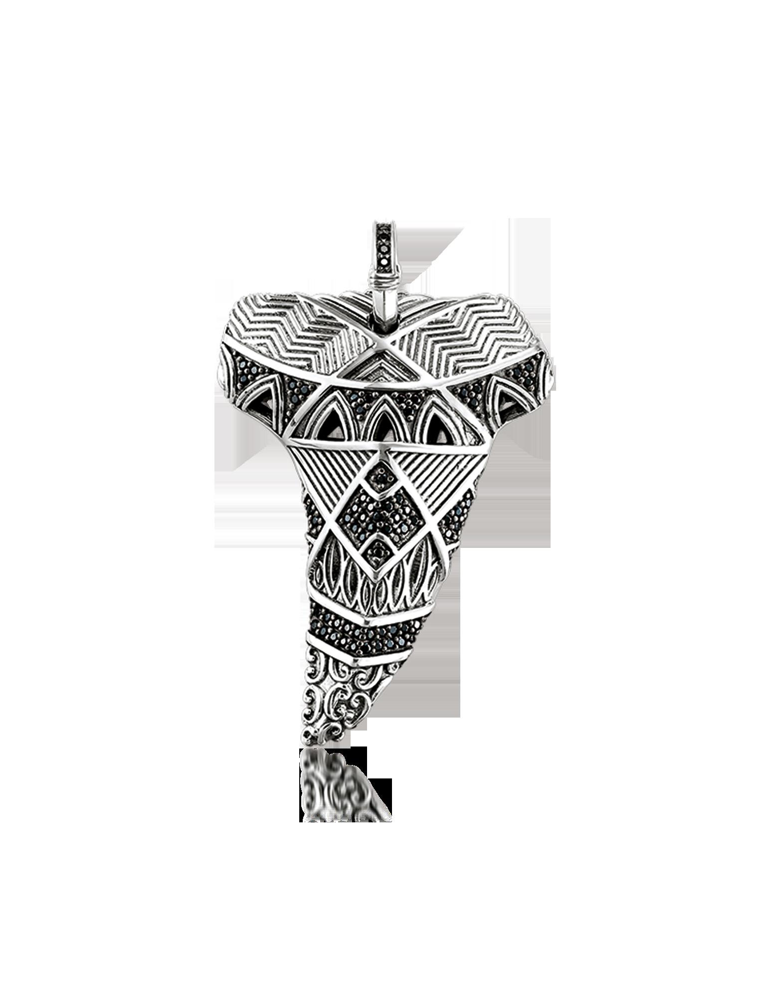 Image of Blackened Sterling Silver Maori Tooth Pendant w/Black Zirconia