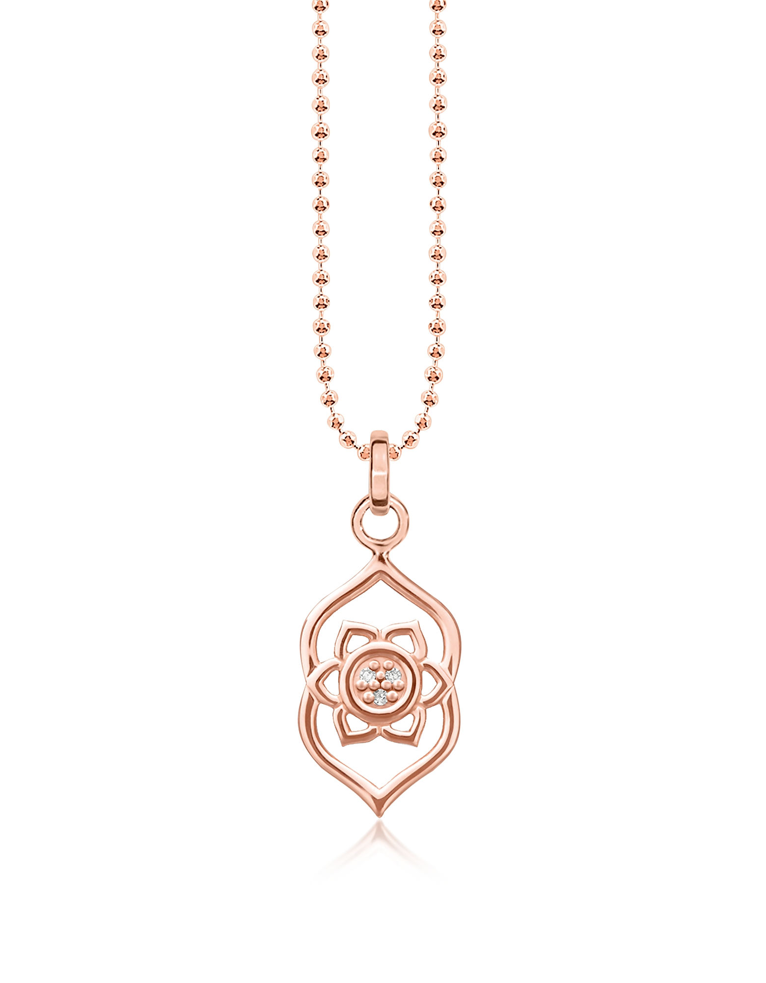 Thomas Sabo Necklaces, Third Eye Chakra Rose Gold Plated Sterling Silver Necklace w/White Zirconia