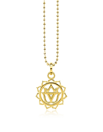 Solar Plexus Chakra Yellow Gold Plated  Sterling Silver Necklace w/White Zir..