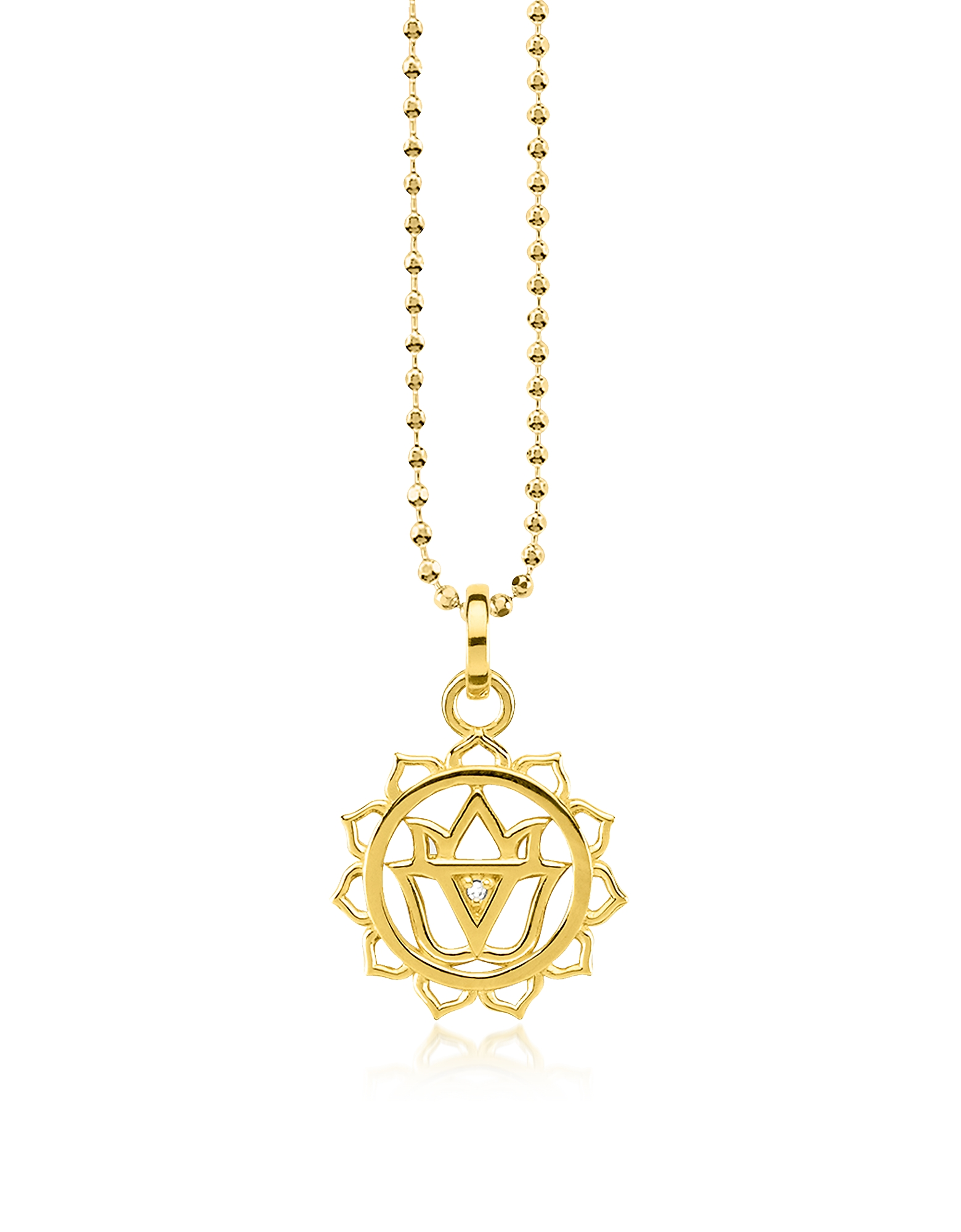 Thomas Sabo Necklaces, Solar Plexus Chakra Yellow Gold Plated Sterling Silver Necklace w/White Zirco
