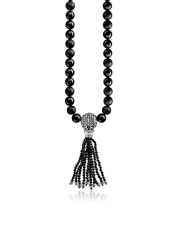 Ethno Black Sterling Silver Men's Long Necklace w/Obsidian Matt & Polished B..