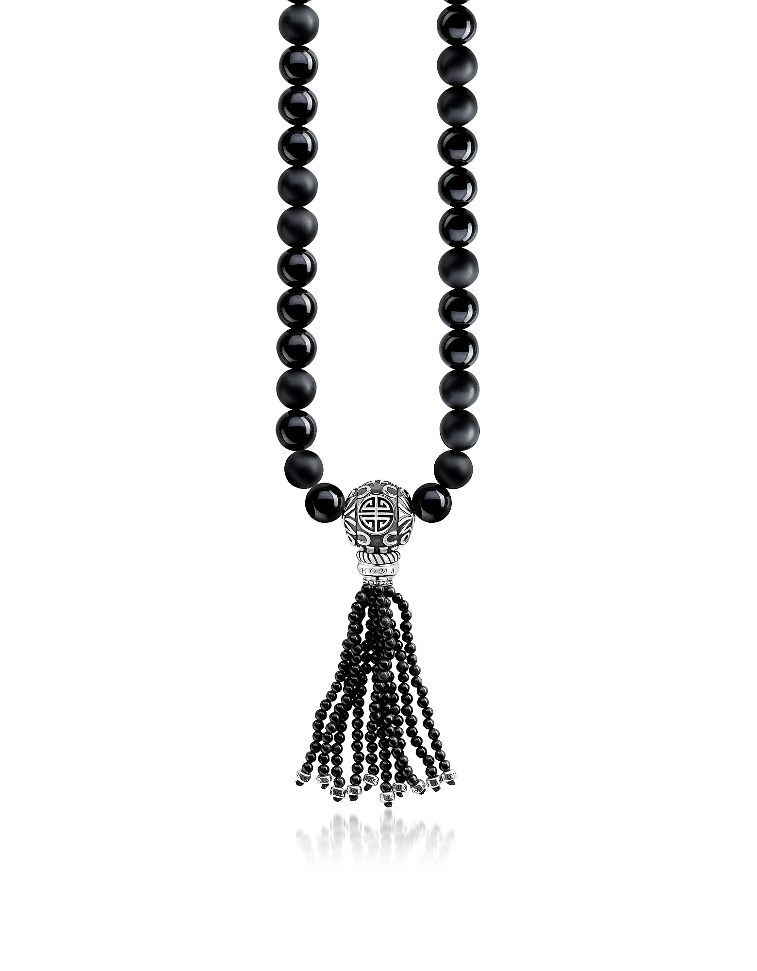 Power Necklace Black Sterling Silver Men's Long Necklace w/Obsidian Matt & Polished Beads and Tassel