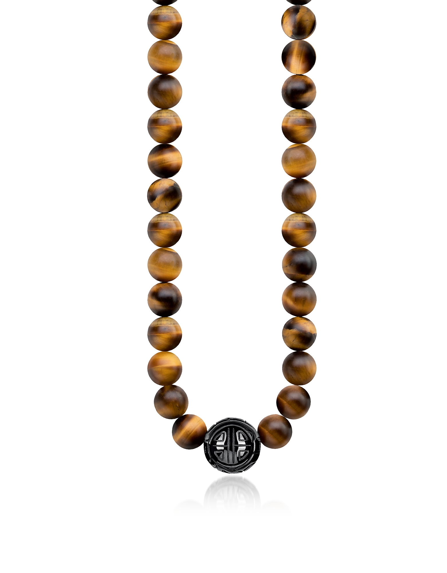Thomas Sabo Designer Necklaces, Power Necklace Yellow Tiger Eye Beads and Sterling Silver Men's Necklace