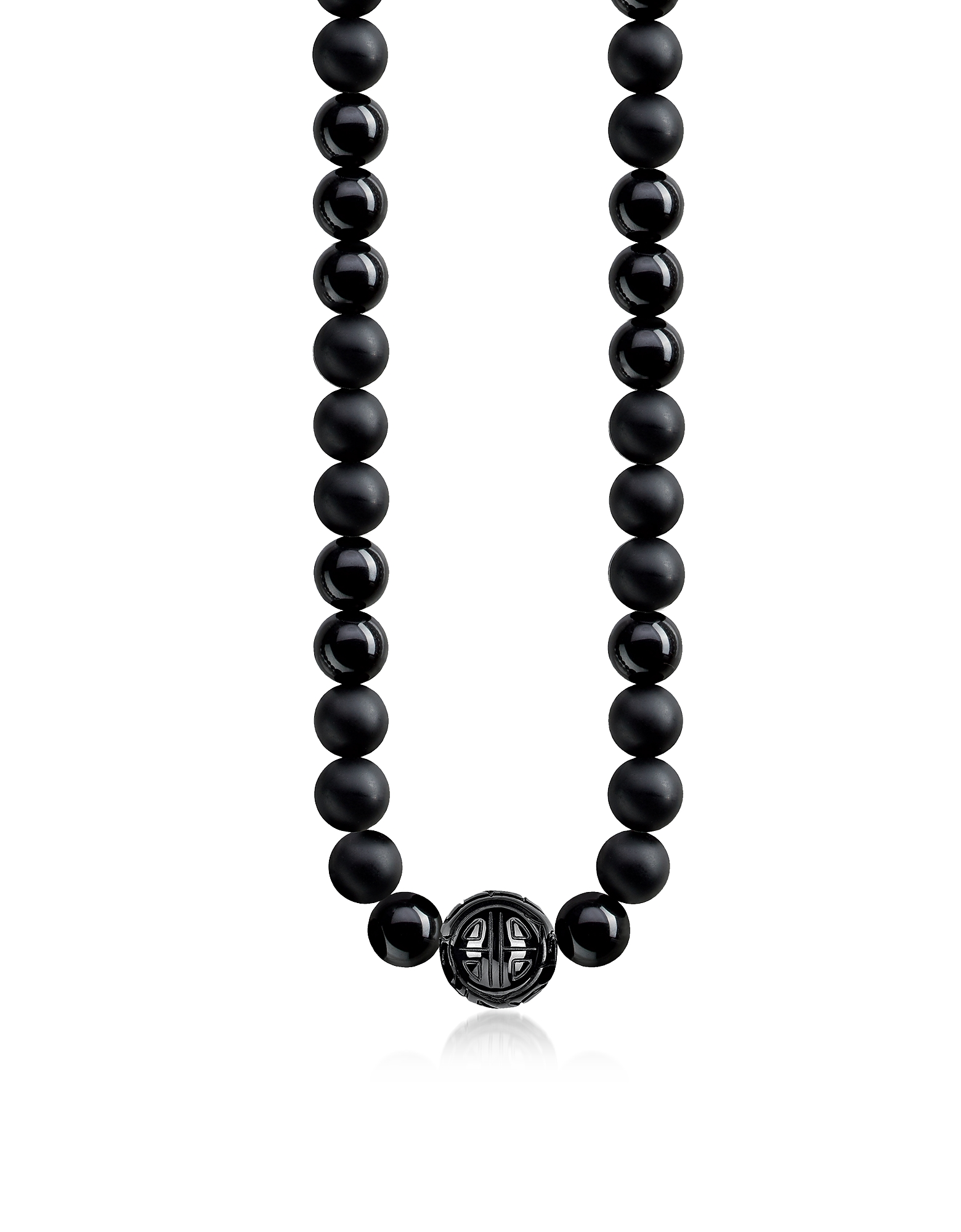 Power Blackened Sterling Silver Men's Necklace w/Obsidian Matt and Polished Beads