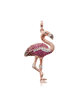 Rose Gold Plated Sterling Flamingo Pendant w/Pink Zirconia