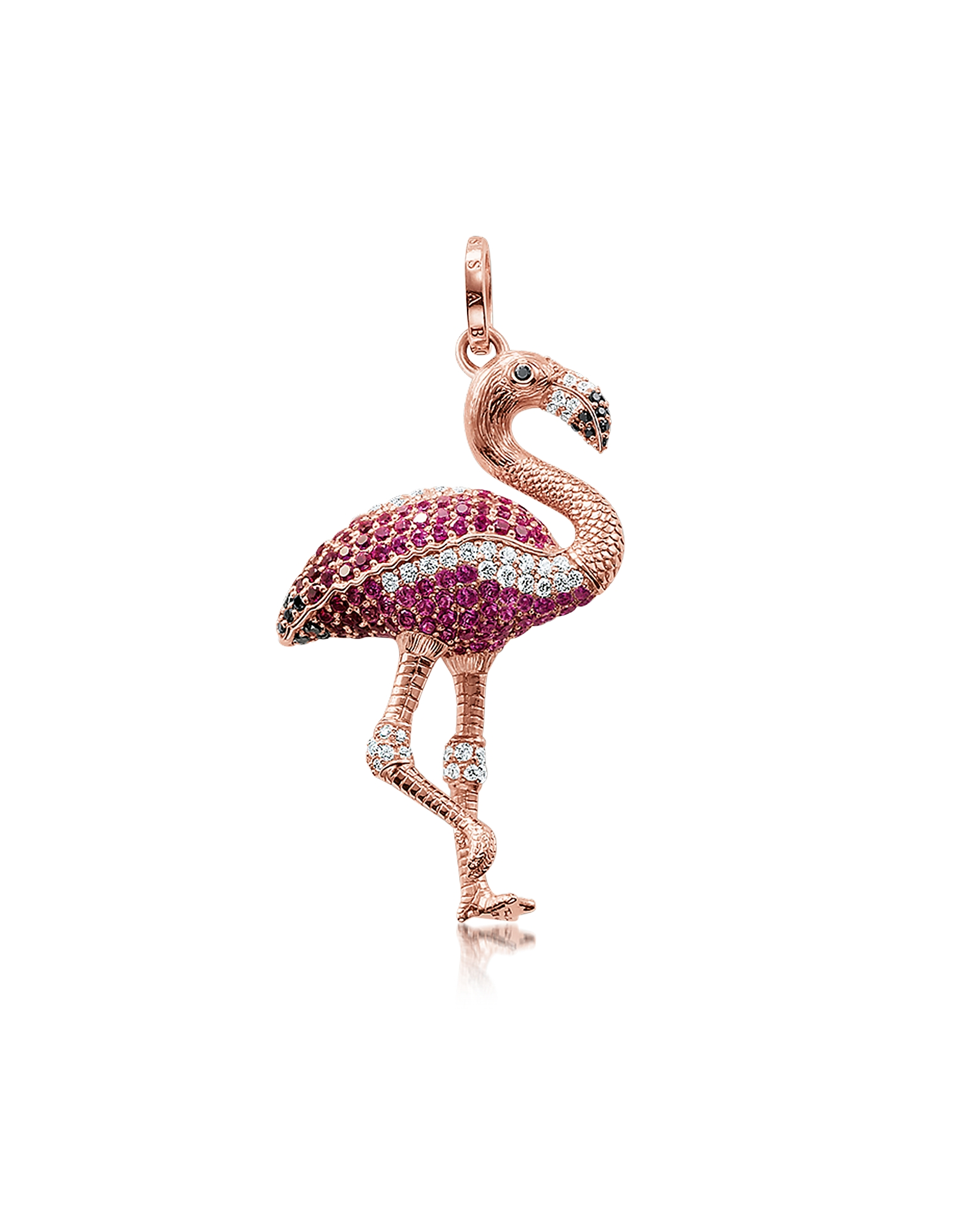 Thomas Sabo Necklaces, Rose Gold Plated Sterling Flamingo Pendant w/Pink Zirconia