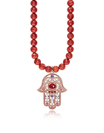 Rose Gold Plated Sterling Hand of Fatima and Red Coral Long Necklace w/Pink ..