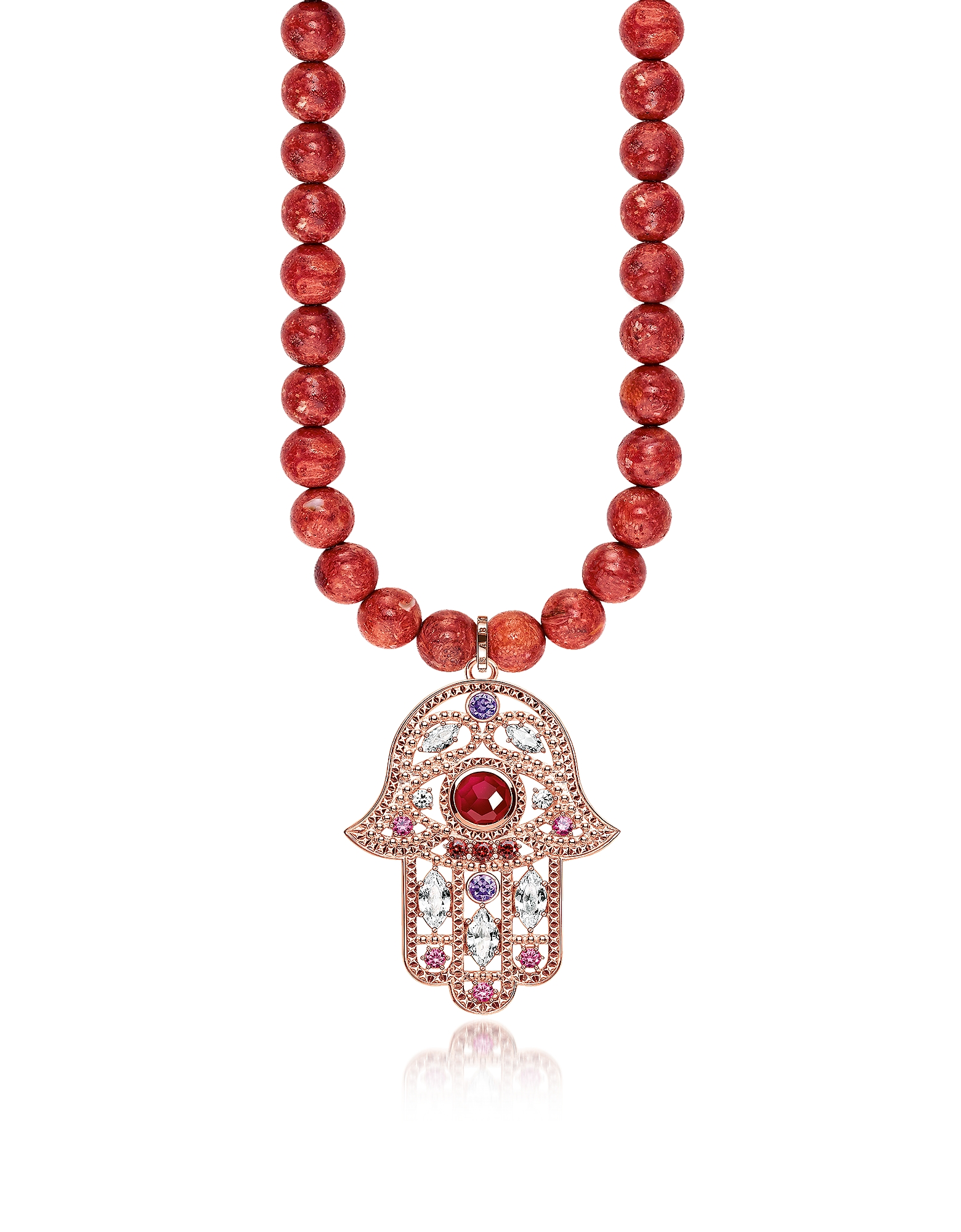 Rose Gold Plated Sterling Hand of Fatima and Red Coral Long Necklace w/Pink Zirconia
