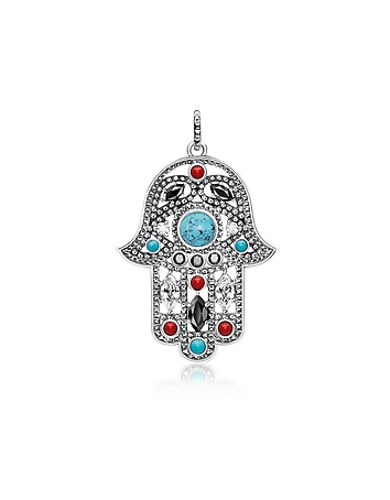 Blackened Sterling Silver Hand of Fatima Pendant w/Turquoise and Zirconia
