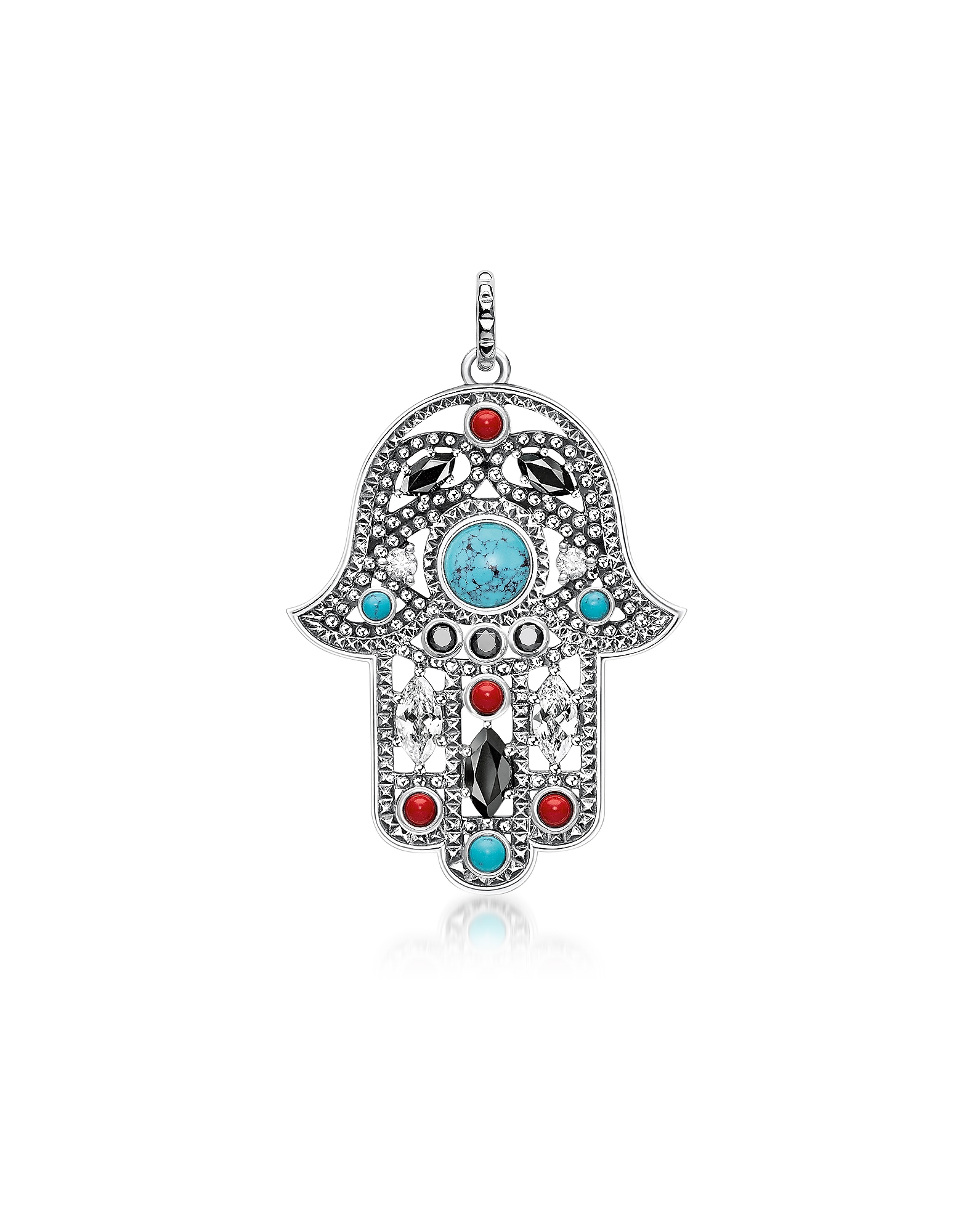 Thomas Sabo Necklaces, Blackened Sterling Silver Hand of Fatima Pendant w/Turquoise and Zirconia