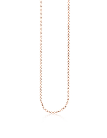 Rose Gold Plated Sterling Silver Round Belcher Chain Necklace