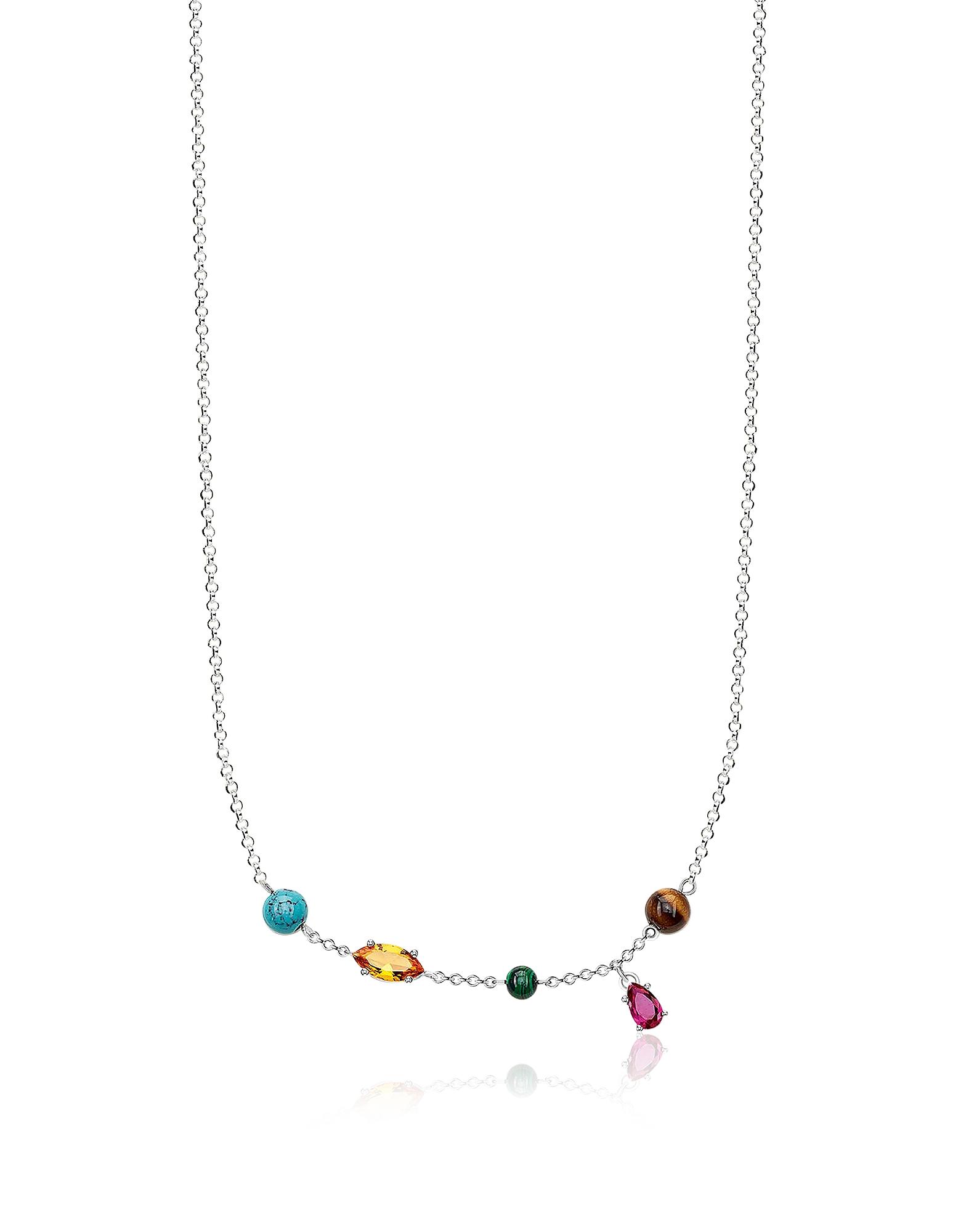 Thomas Sabo Necklaces, Sterling Silver Riviera Colours Necklace w/Ceramic Stones